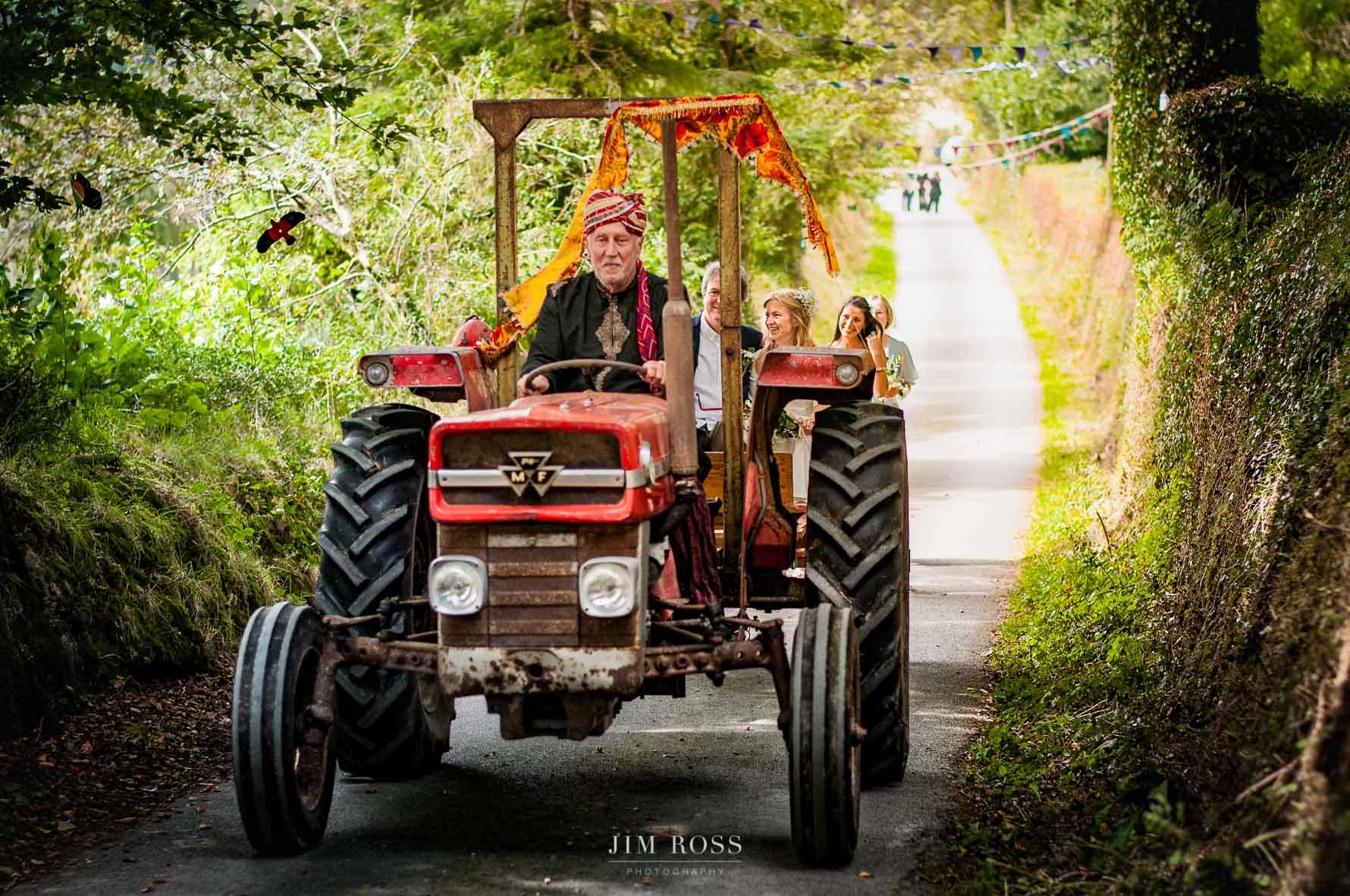 Vintage tractor bridal car