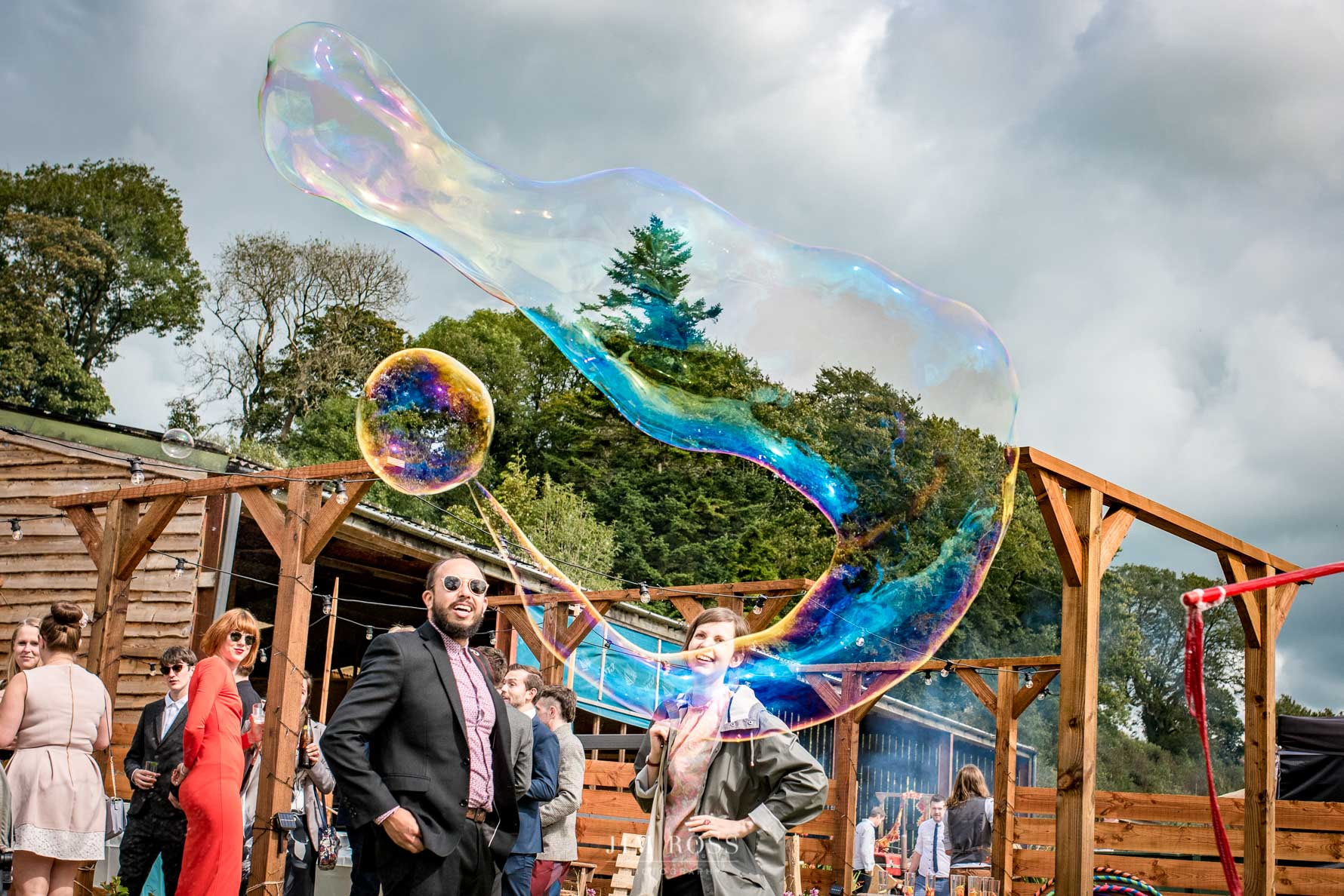 Bubbles entertainment at Welsh Yurt Wedding