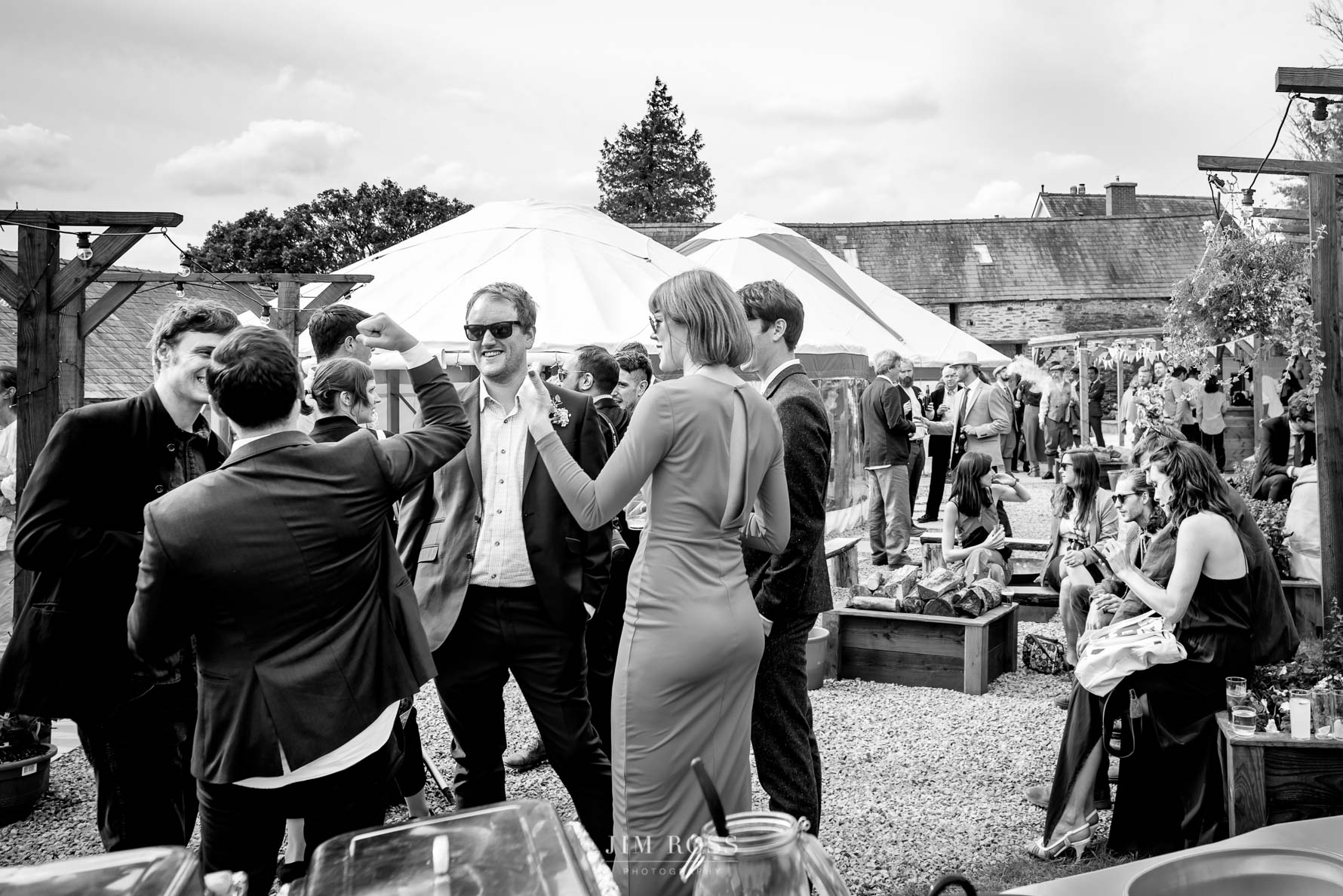 Fun moment for guests at Fron Farm wedding