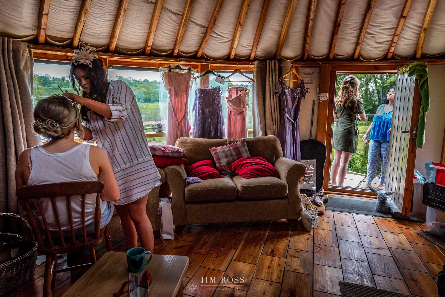 Bridal prep scene in Welsh Yurt