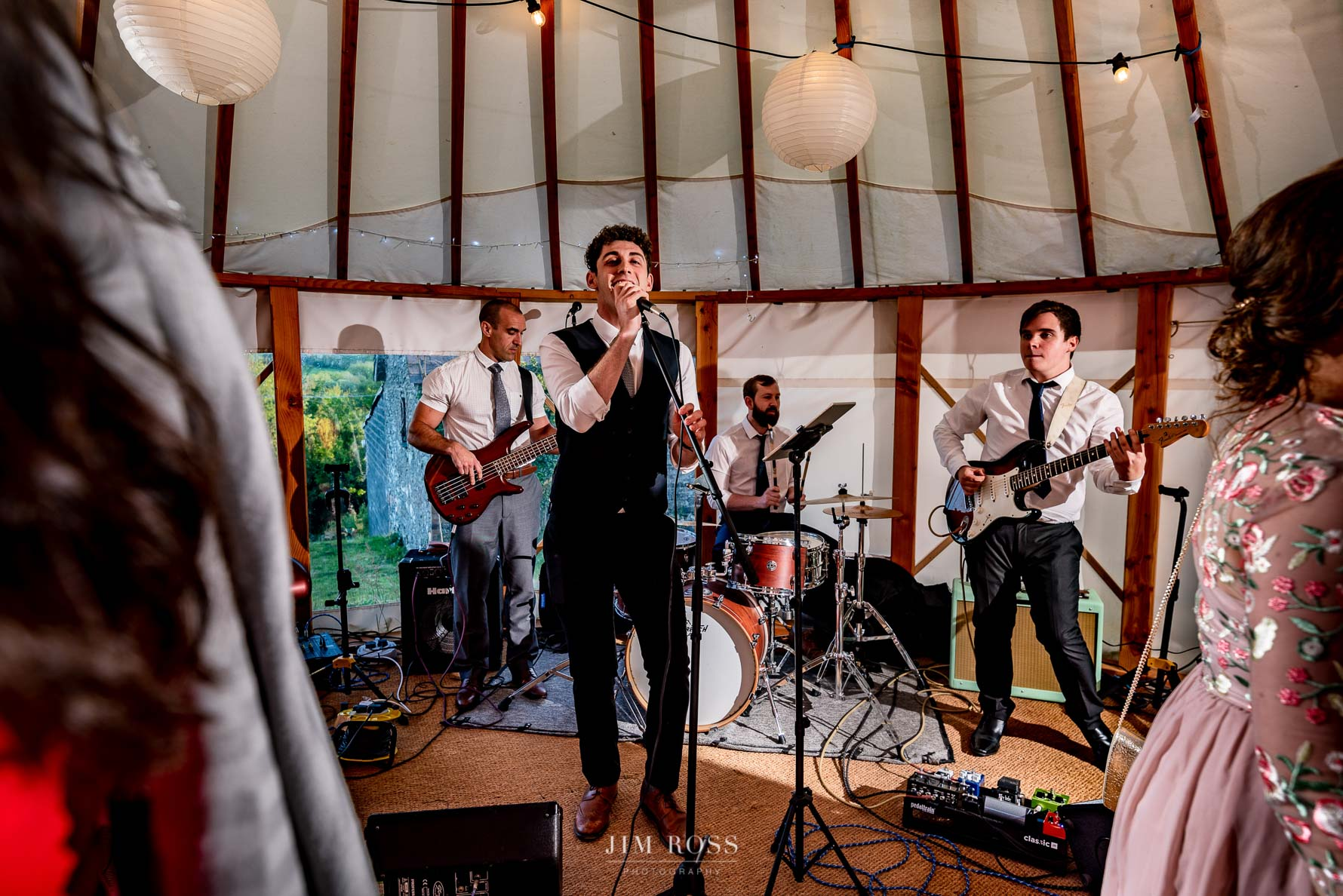 Live band at Welsh Yurt Wedding
