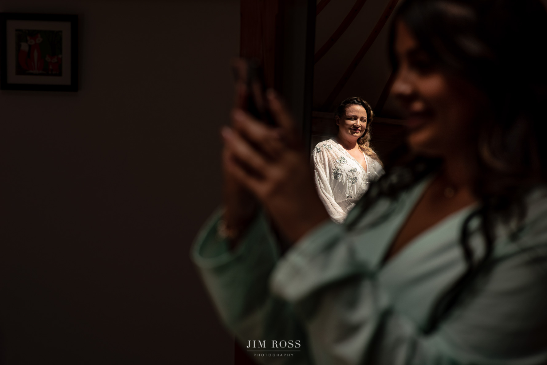 Bride ready in mirror