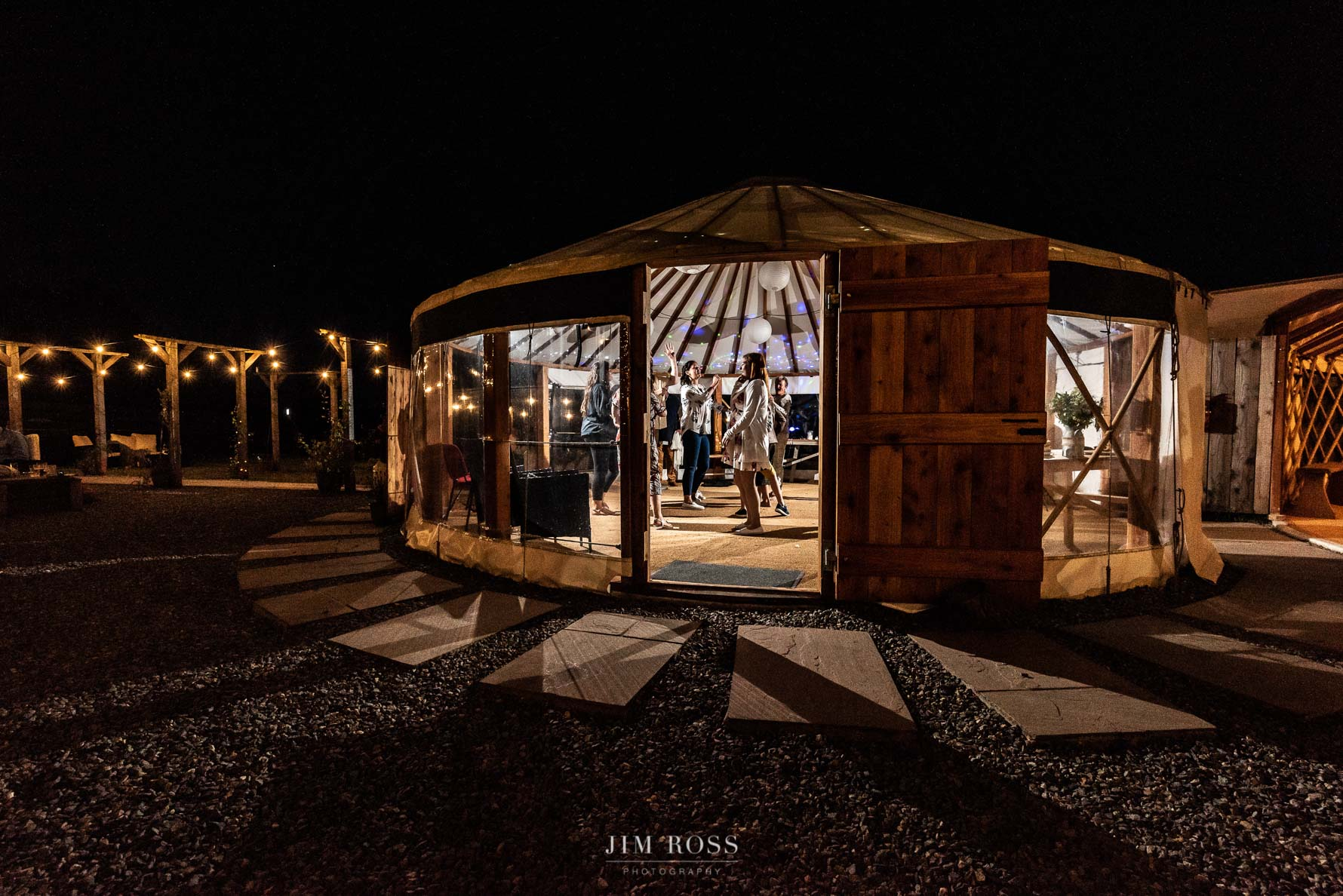 Welsh Yurt Wedding at night
