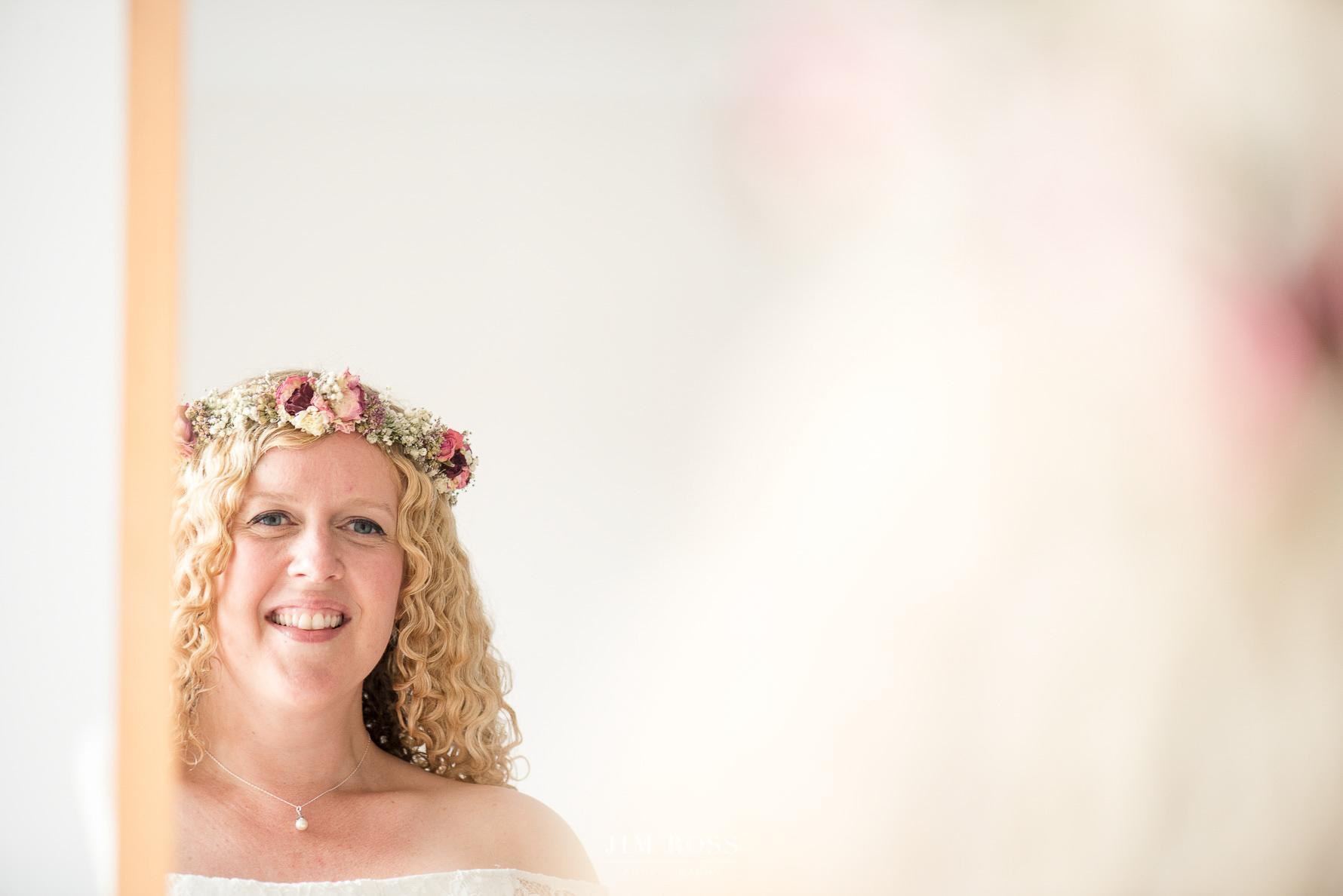 Bride with dried flower garland