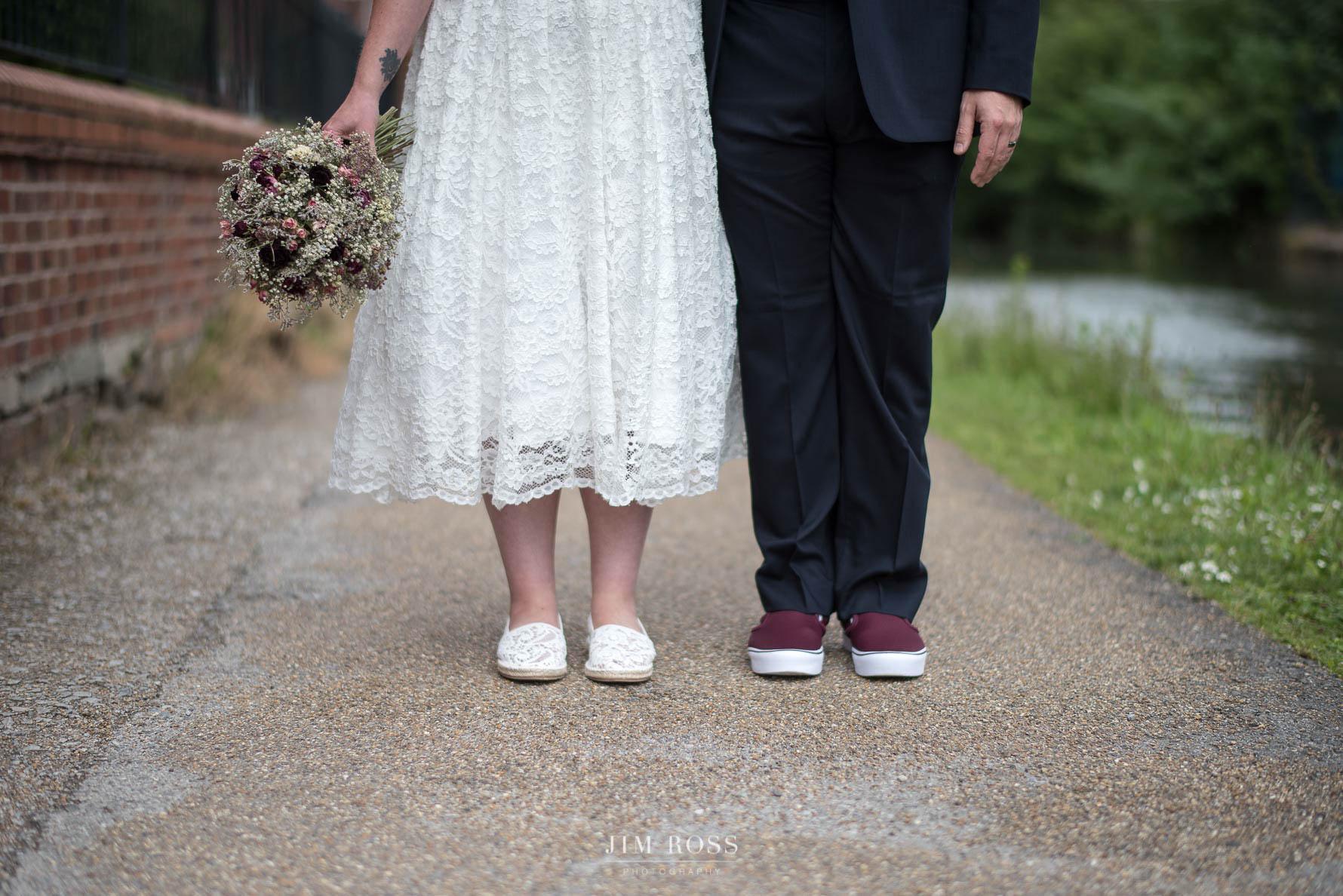 Alternative couple wedding shoes