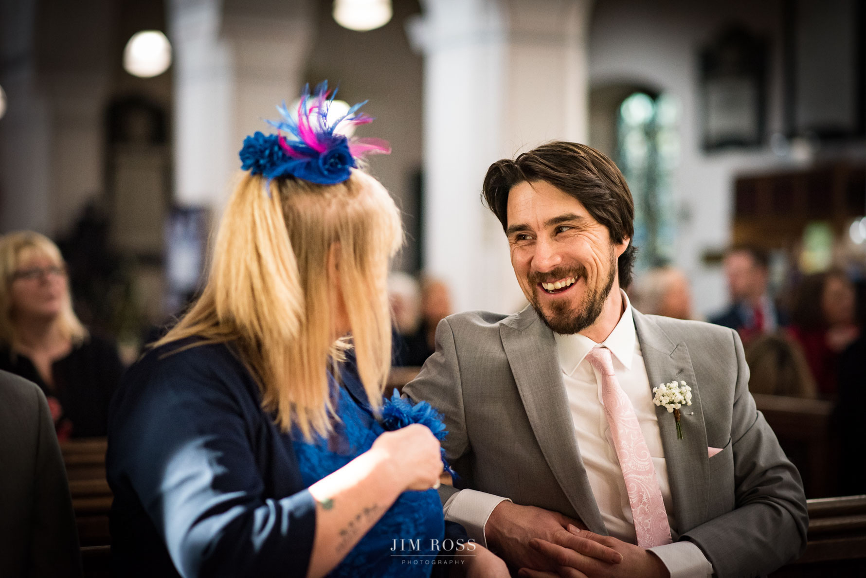 Best man looking relaxed in Lake District church wedding