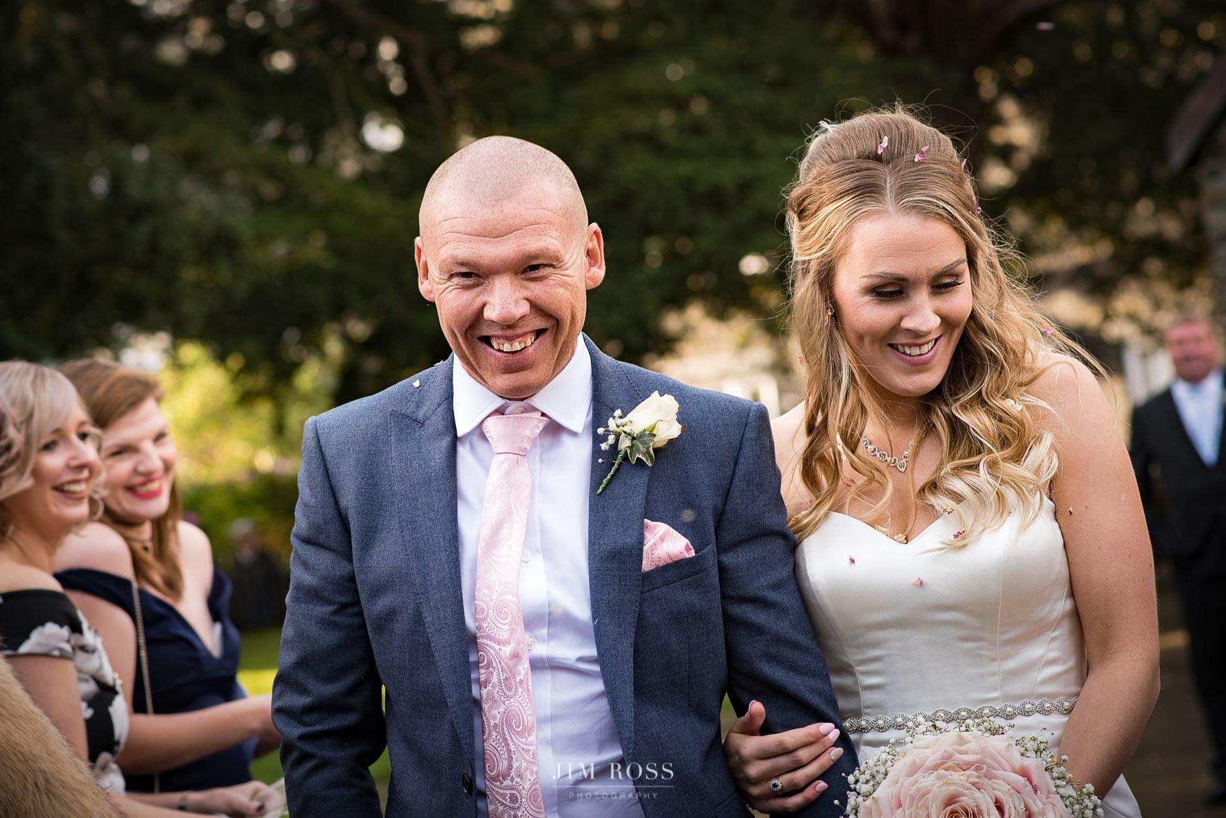 Confetti at Lake District wedding