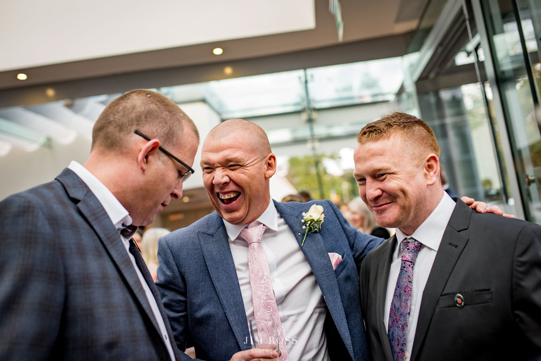 Groom with pals at Belsfield Hotel