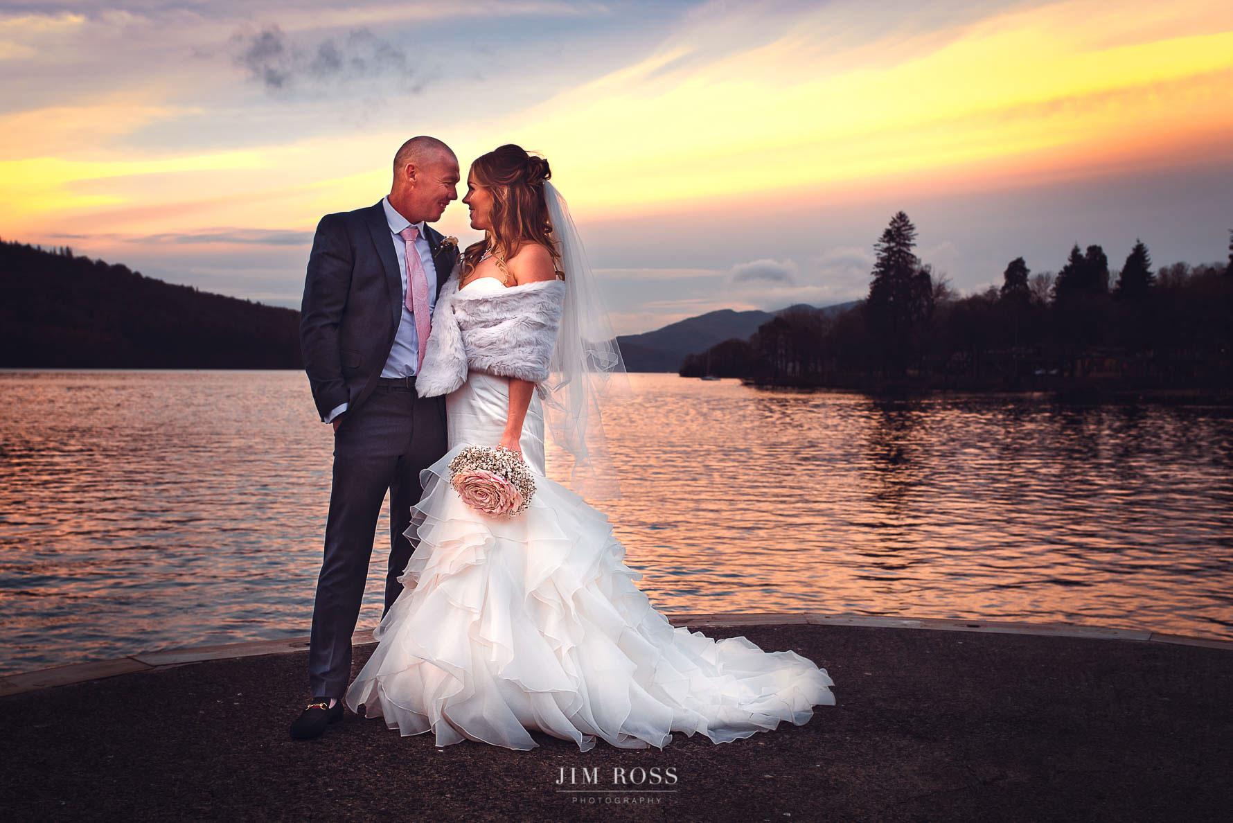 Wedding portrait by Lake Windermere