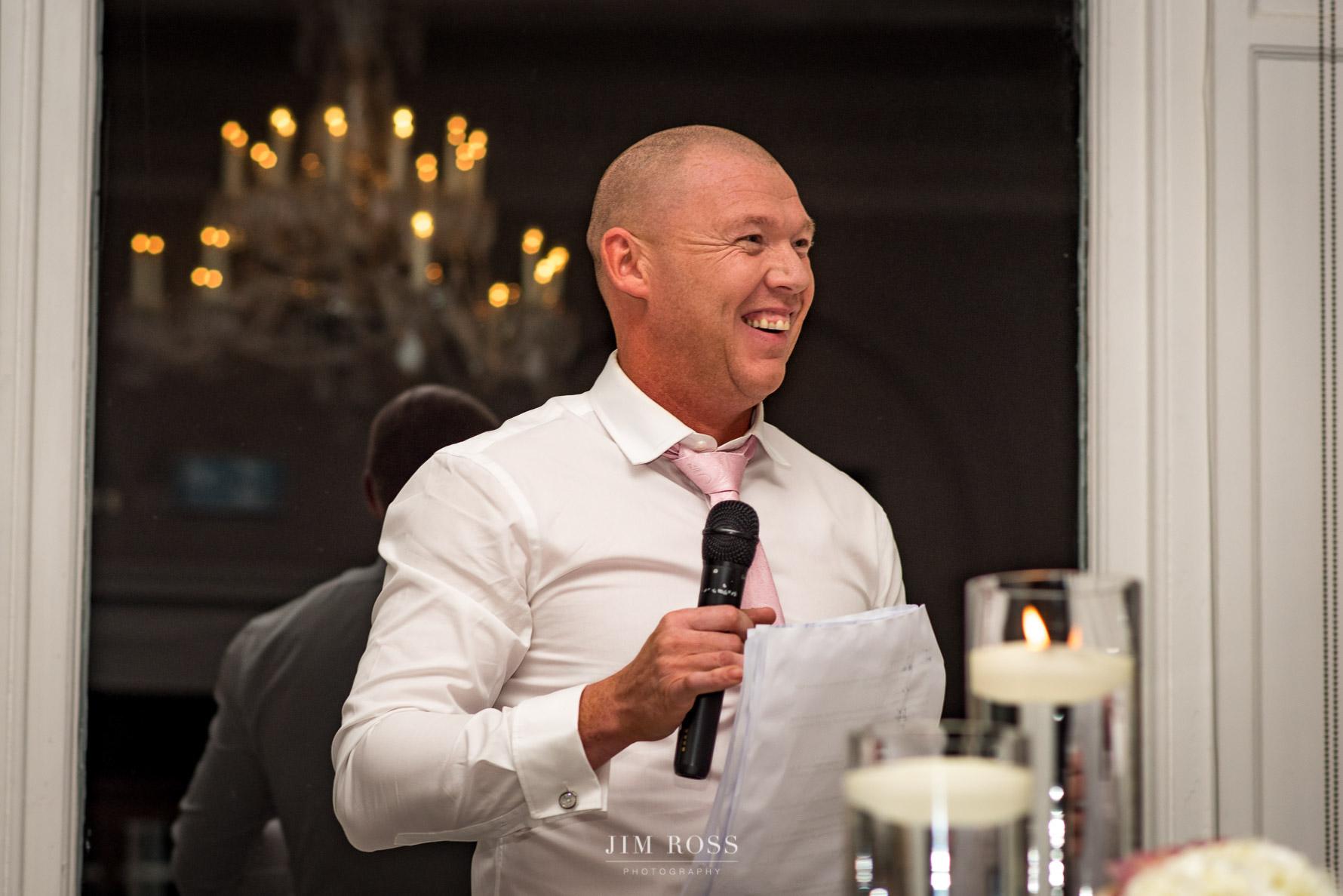 Groom feeling confident in his speech