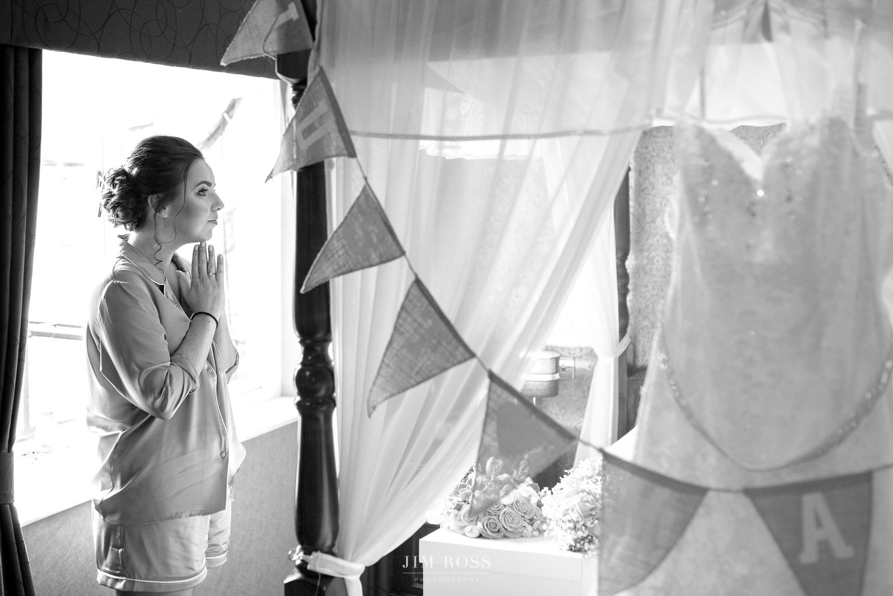 Bride contemplates day ahead
