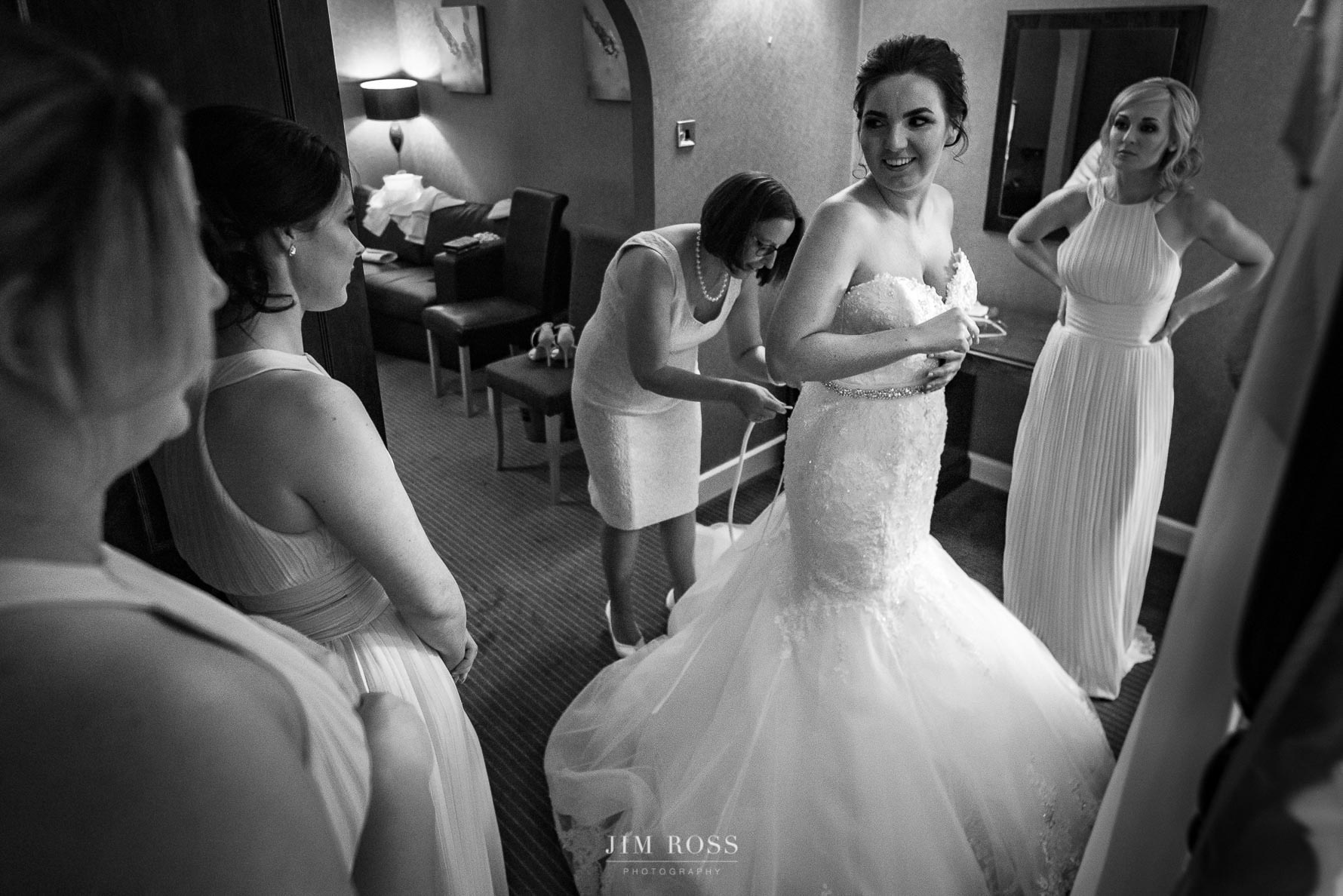 Mother of the bride checking dress