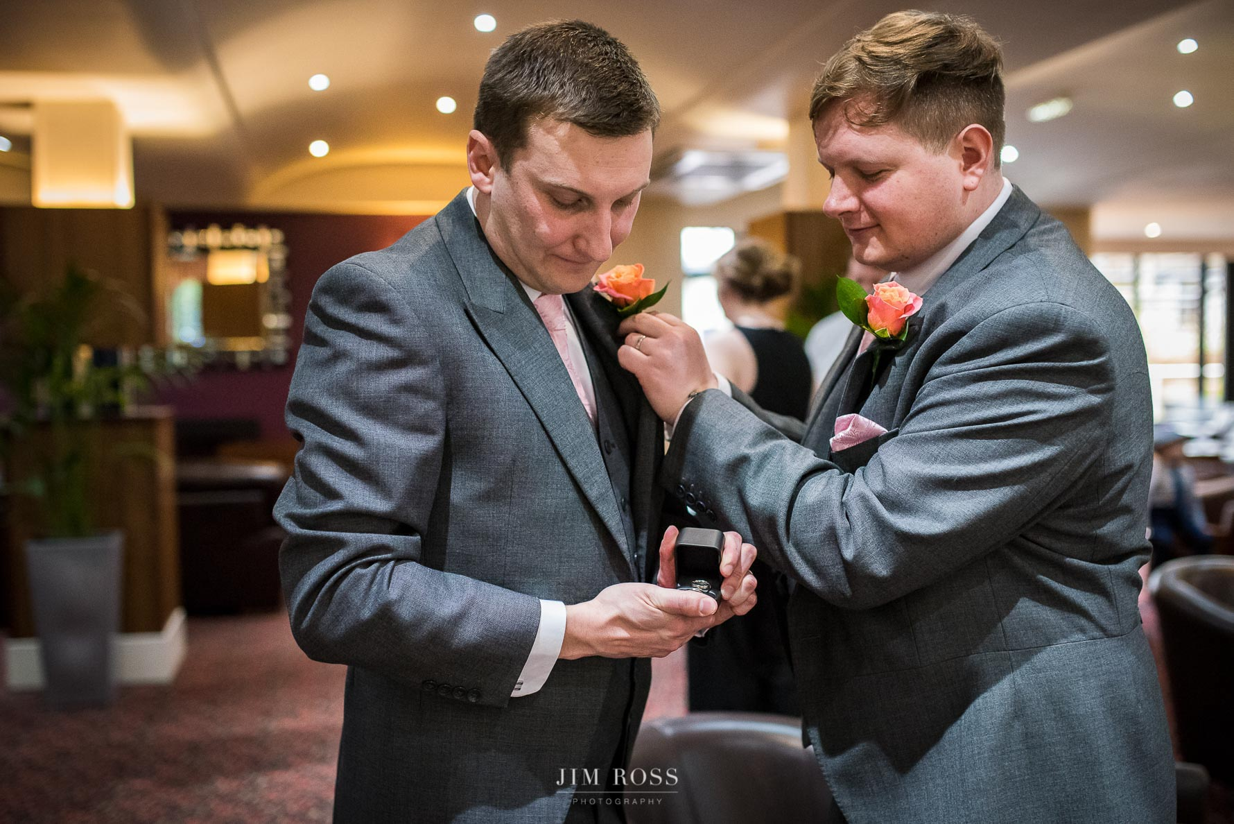 Wedding rings checked by best man