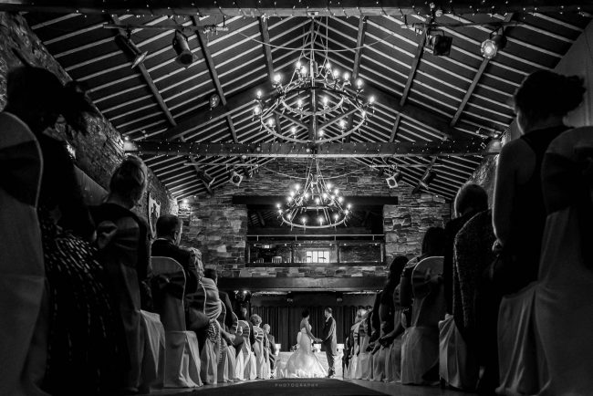 Wedding vows in medieval banquet hall