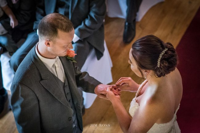 Exchanging rings shot from above - colour