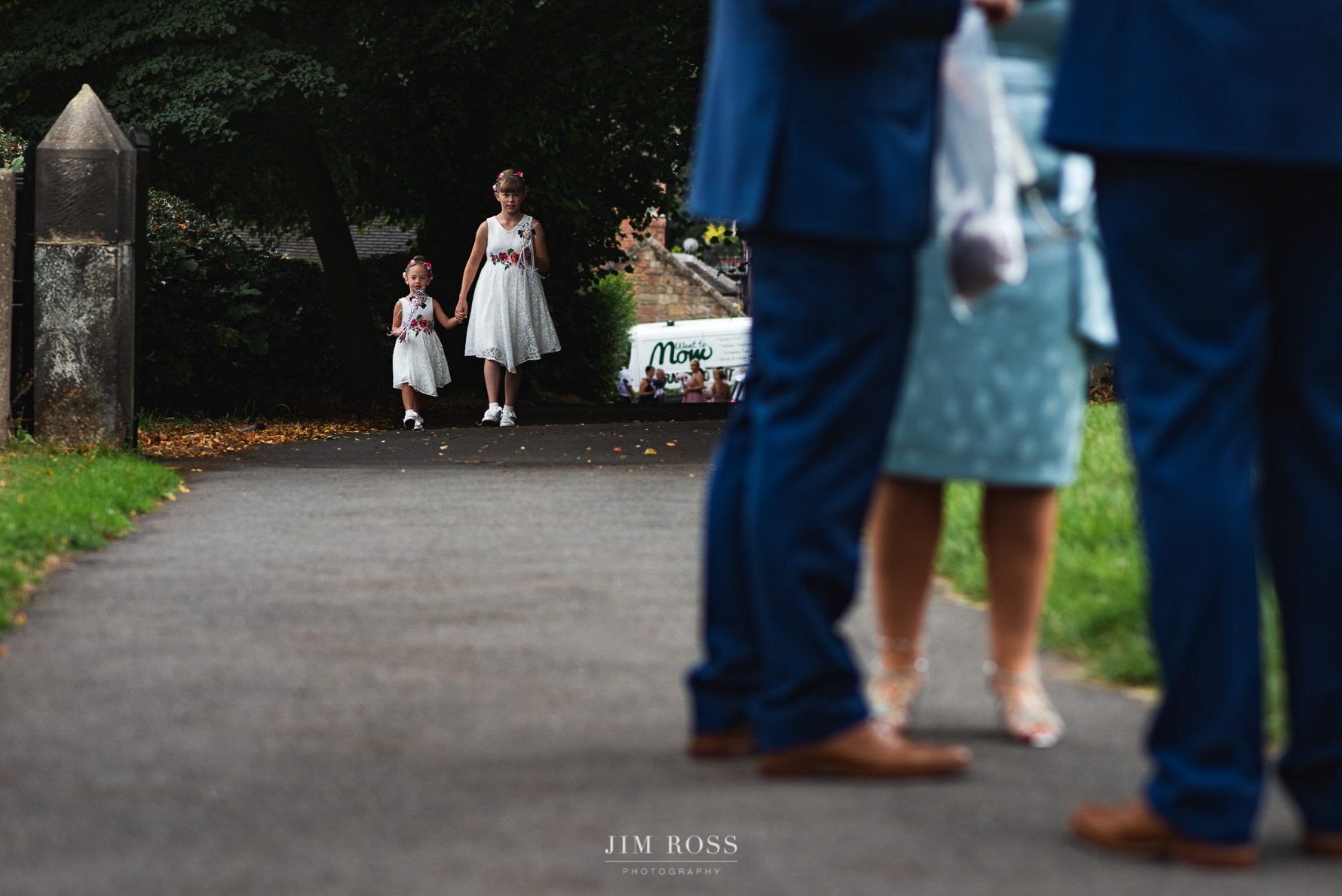 Flower girls arrive at church