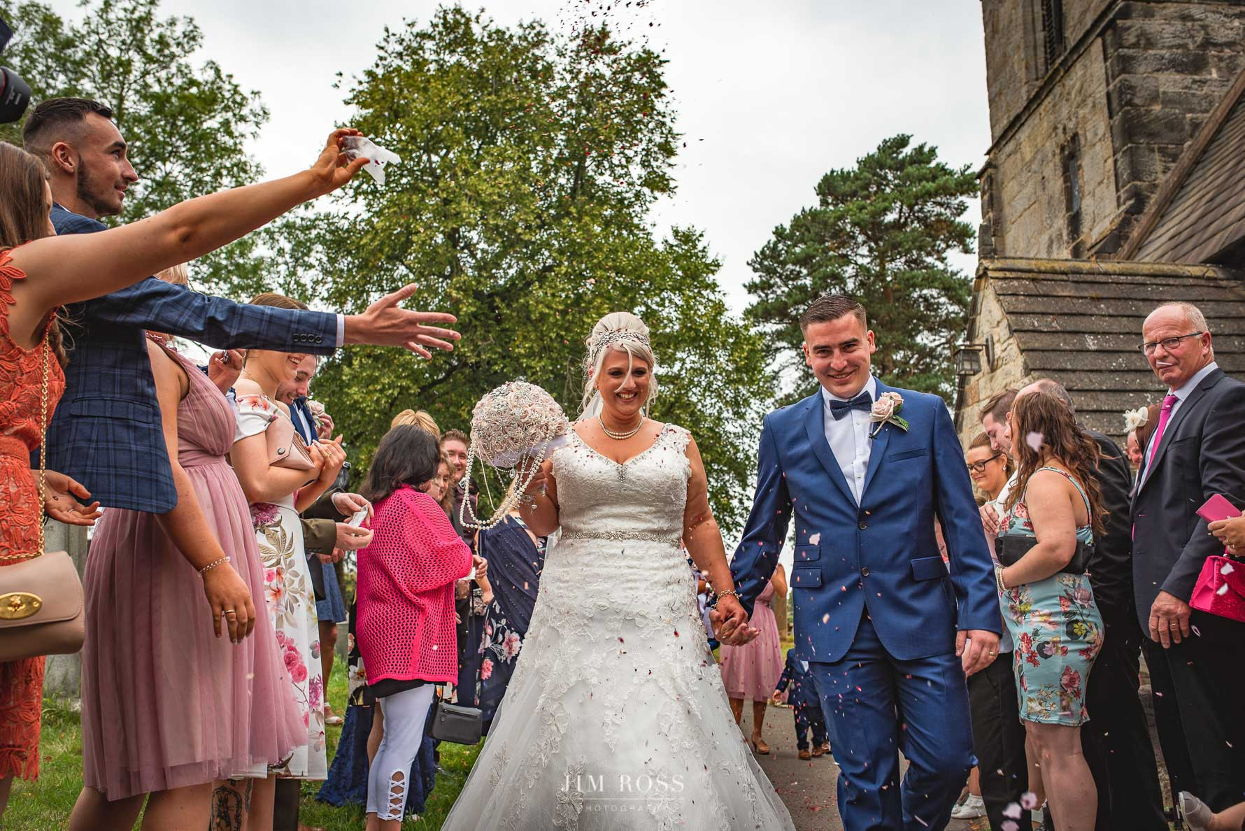 Confetti at Derbyshire church wedding