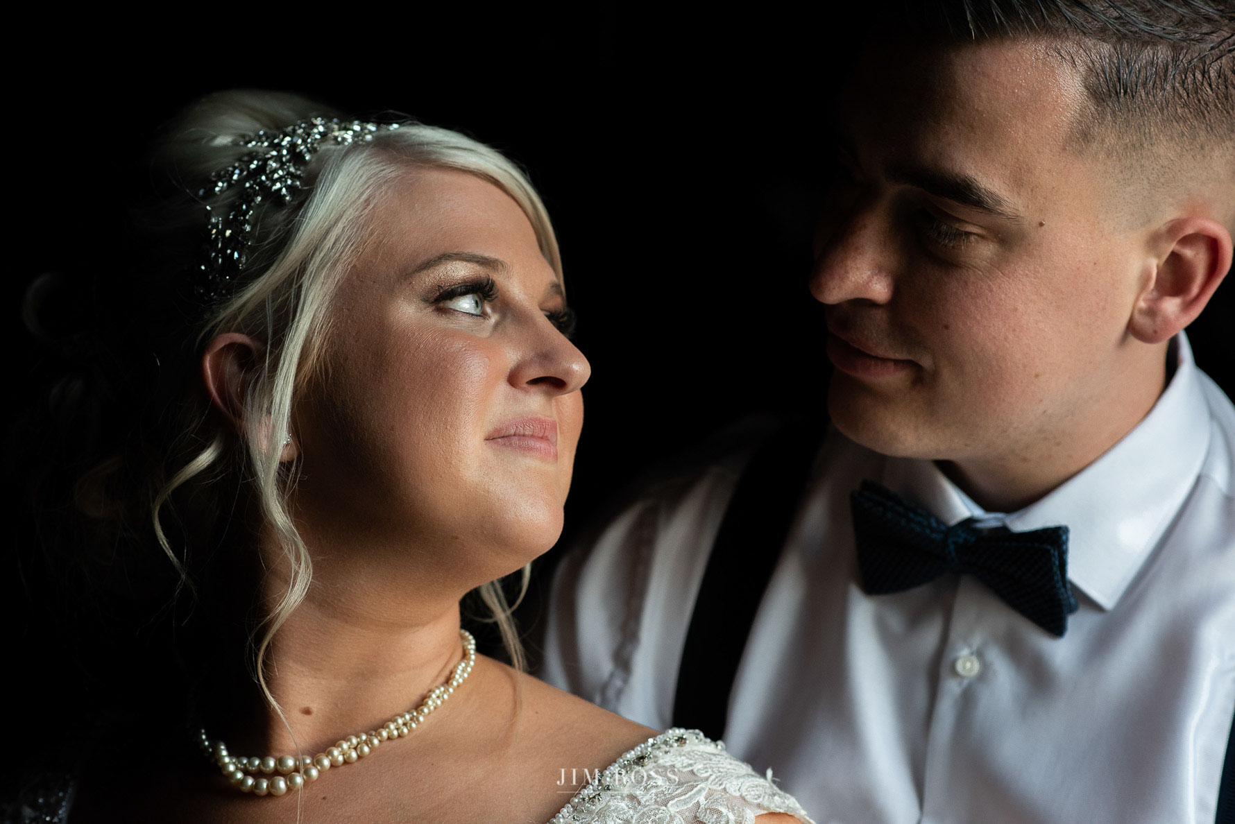 Newlywed portrait in window light