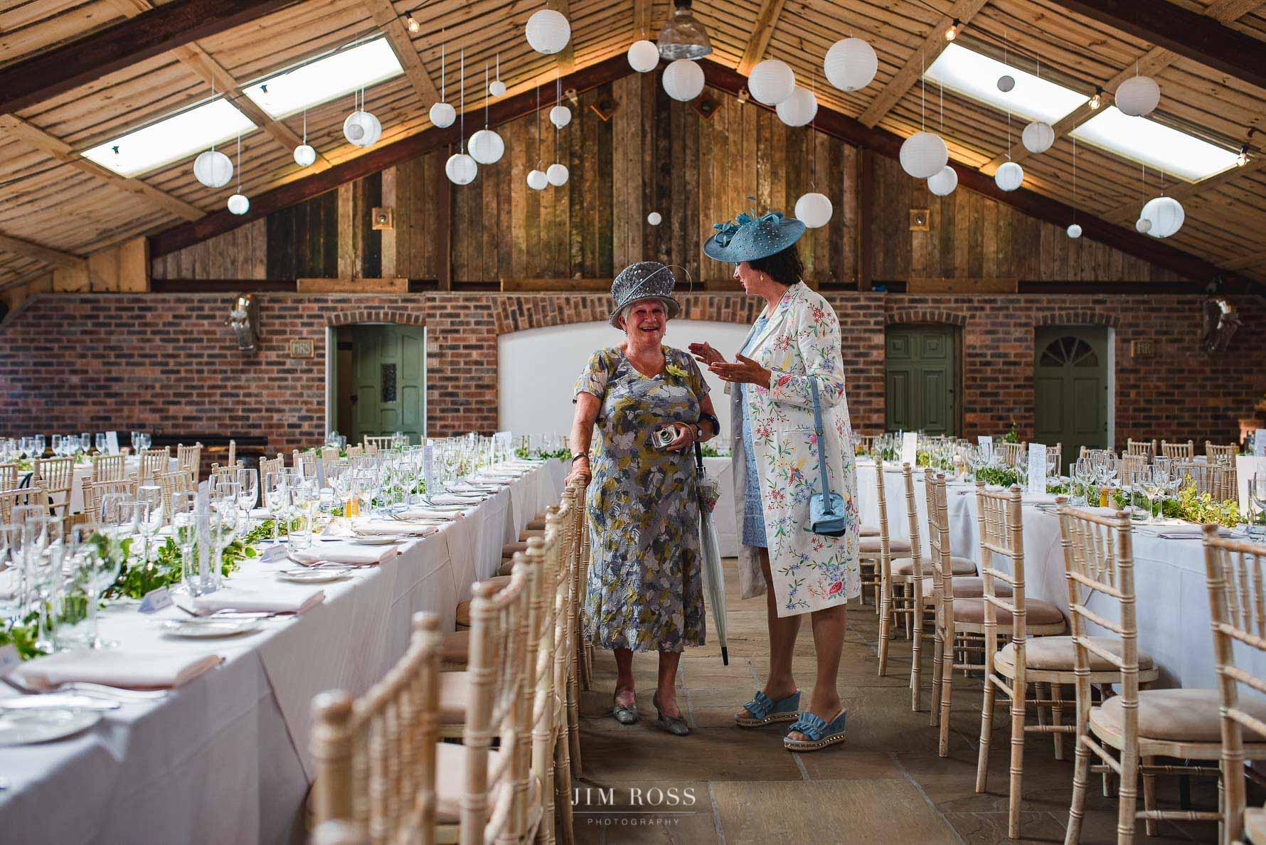Ladies inspecting the wedding breakfast room