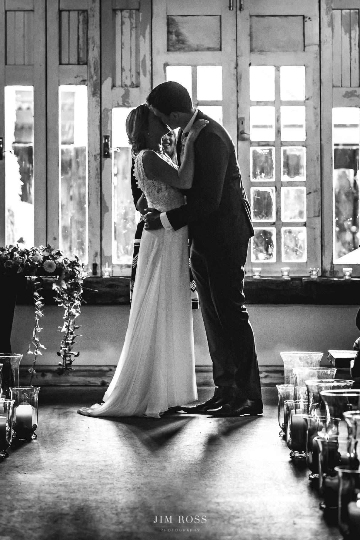 Owen House Wedding Barn First Kiss