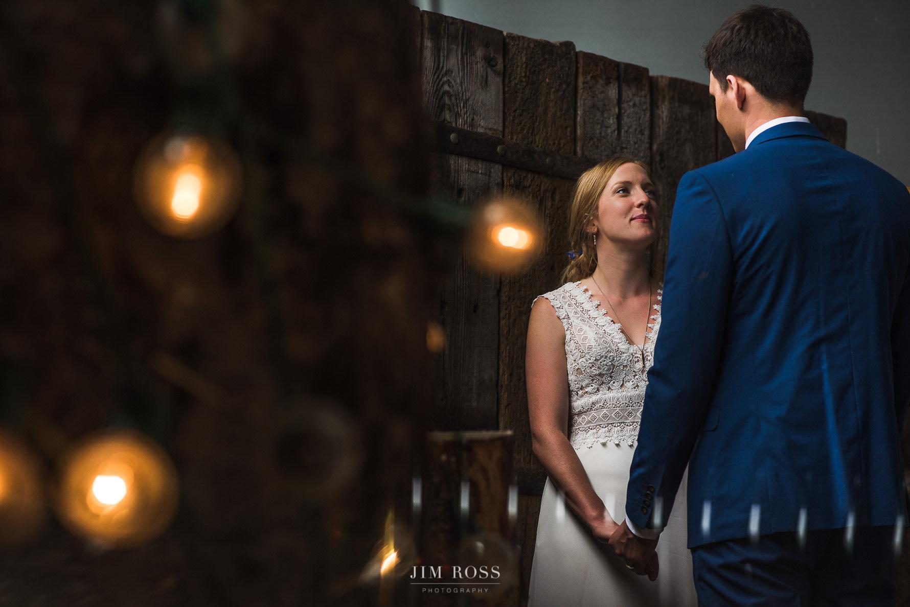 Wedding barn couple portrait