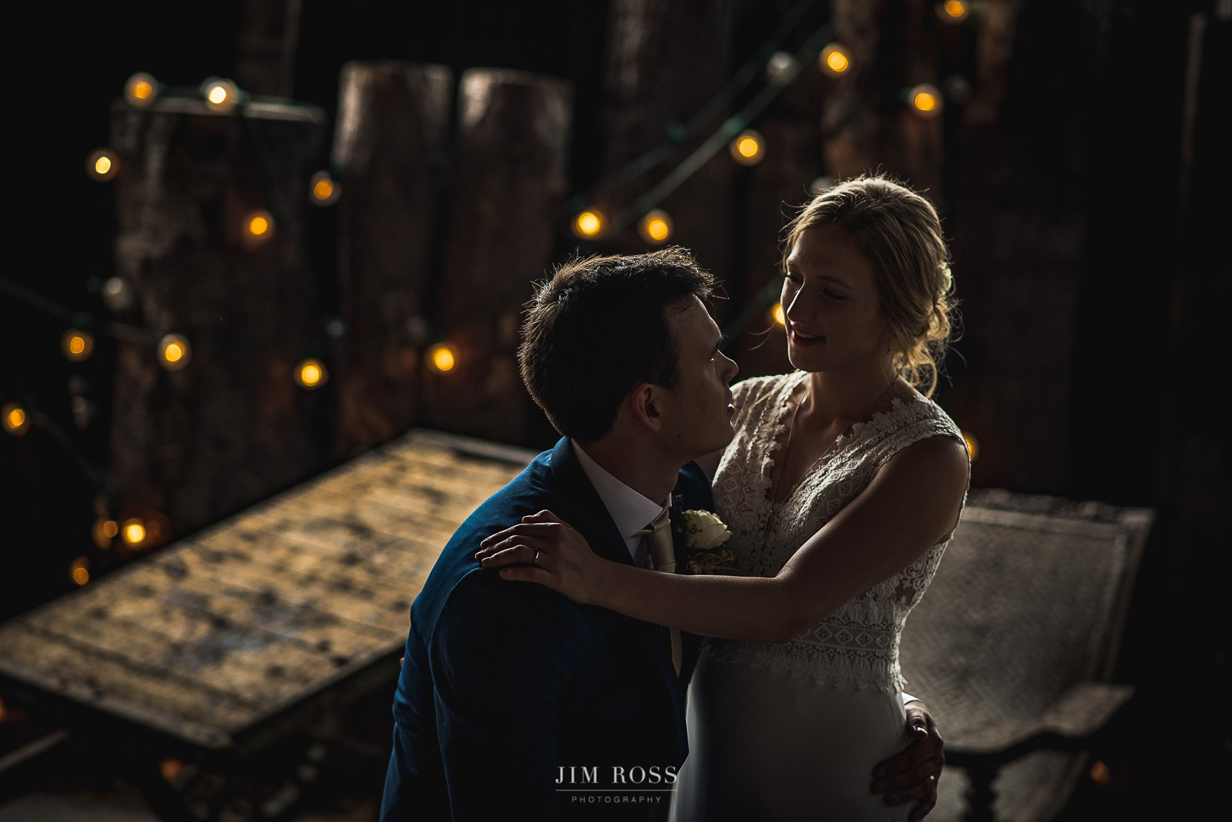 Rustic setting for wedding portrait