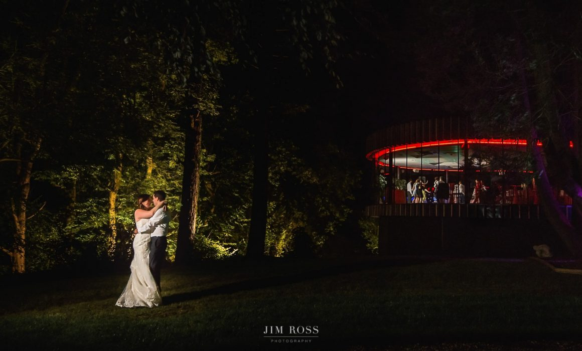 Night portrait at Fairy Hill Wales wedding