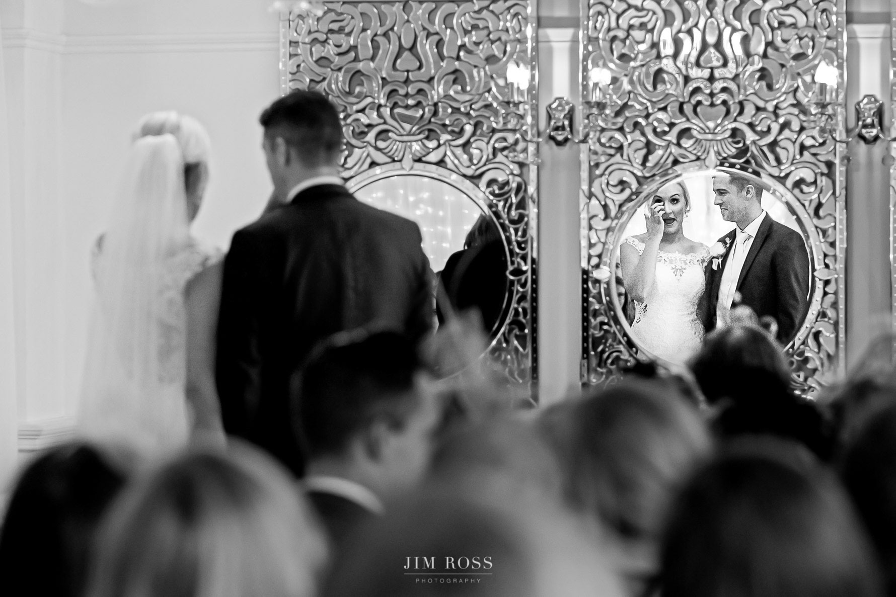 Bride's tear in the mirror