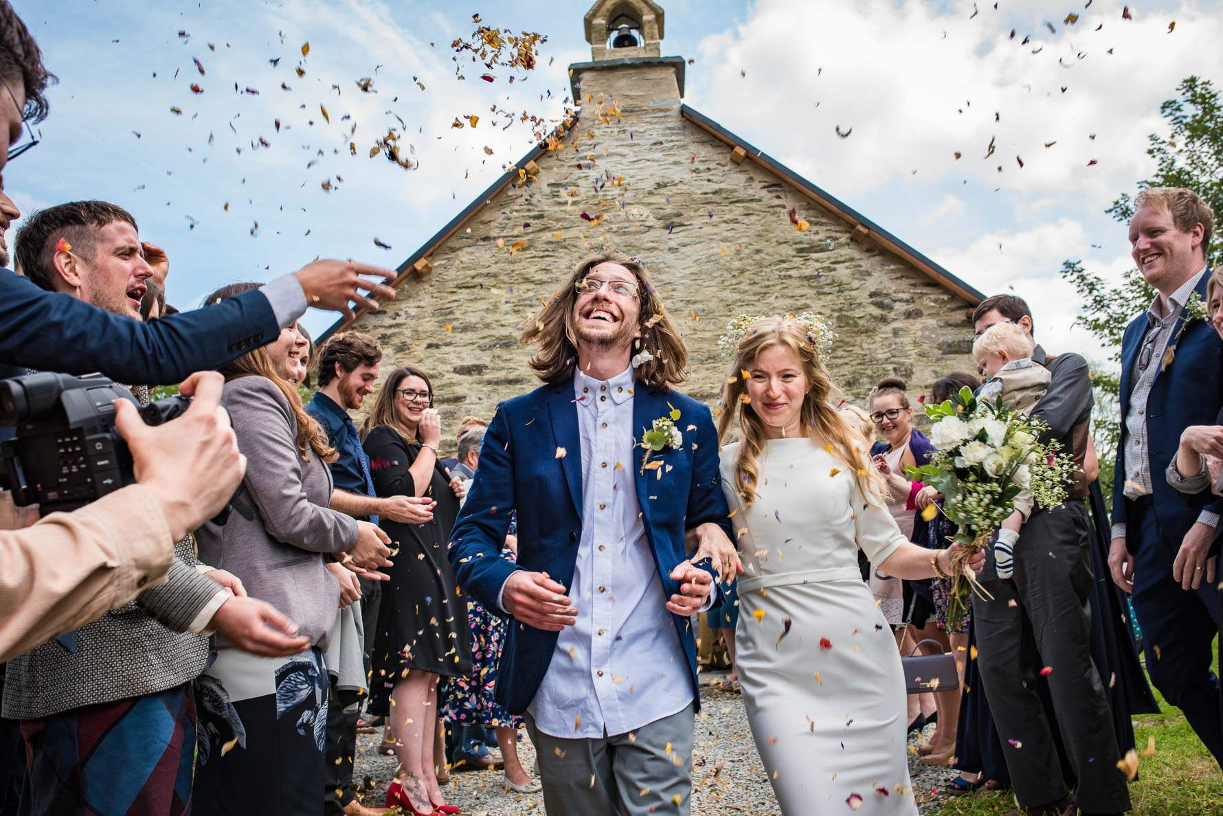 Confetti for newlyweds at Fron Farm medieval church