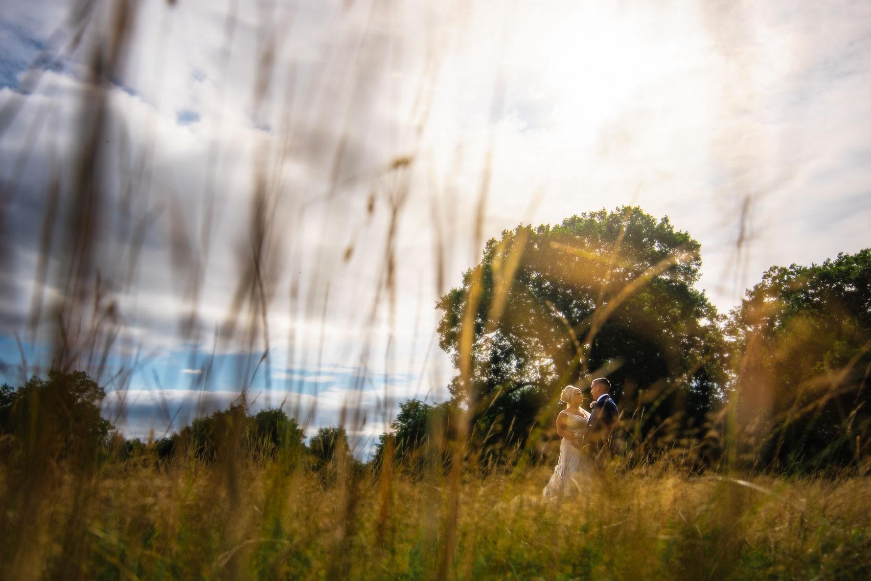 Couple portrait through long grass