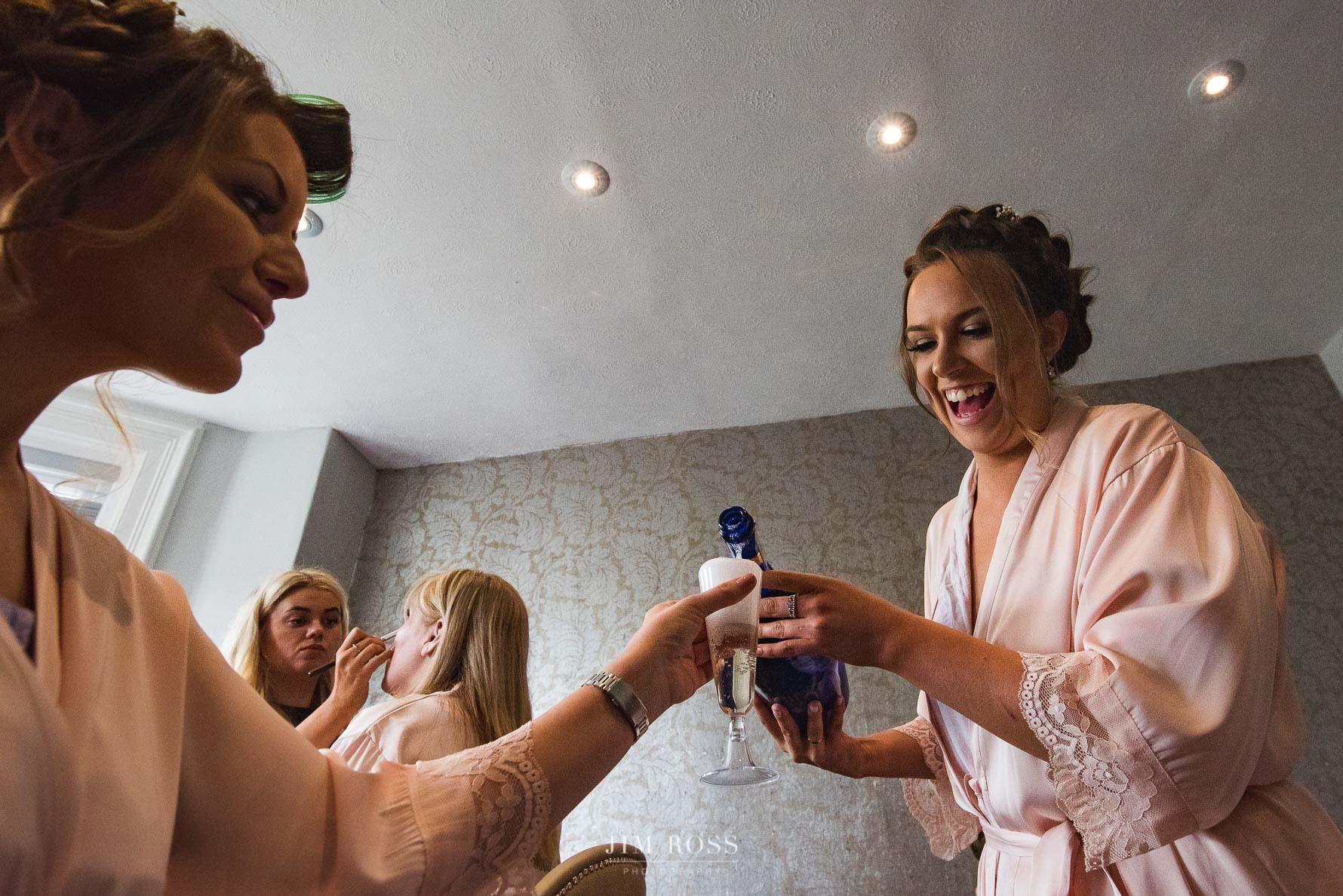 Champagne for bridal prep