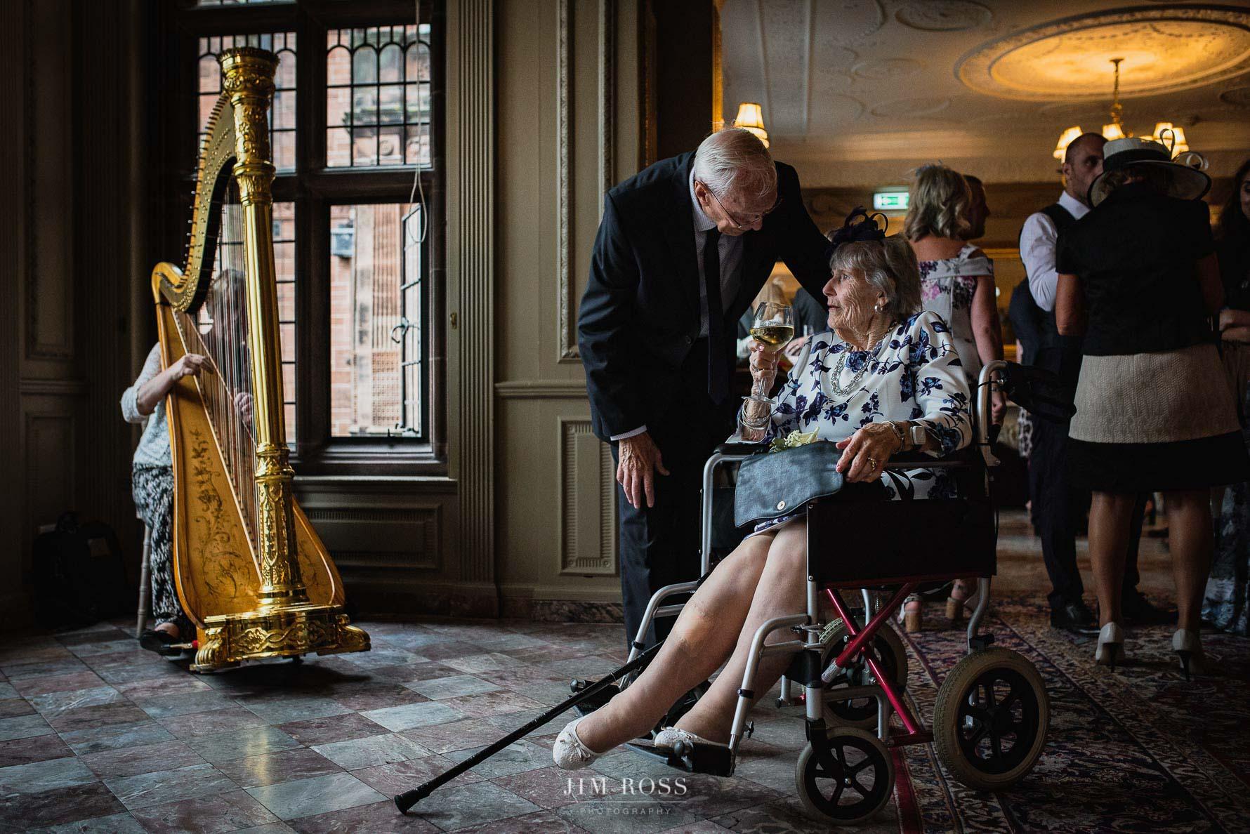 Harpist entertains in grand room