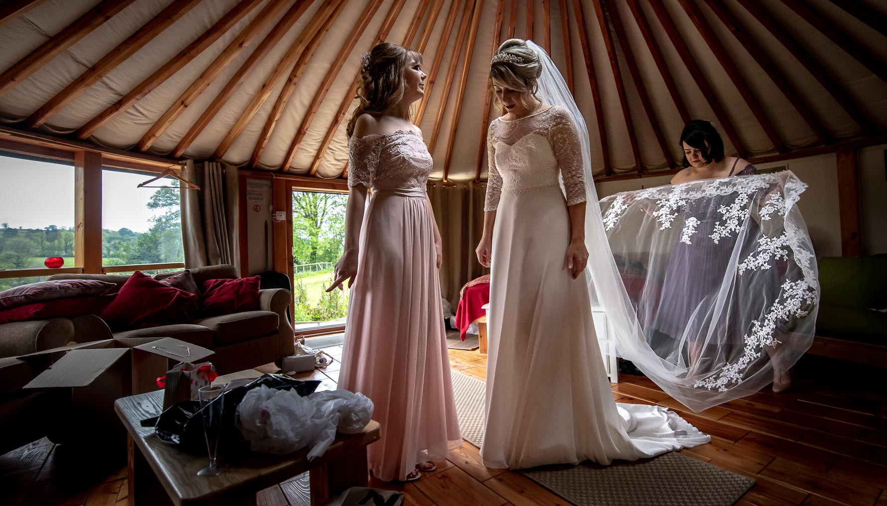 Bridal prep at Welsh Yurt Wedding