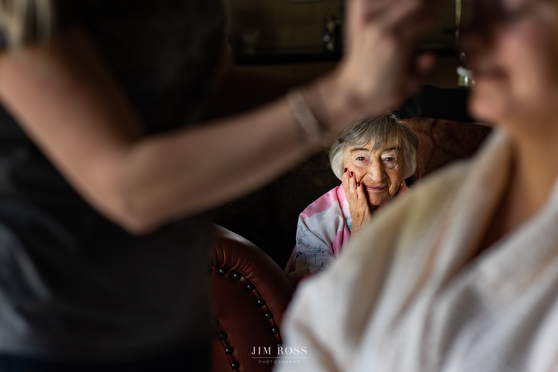 Grandma watching bridal makeup