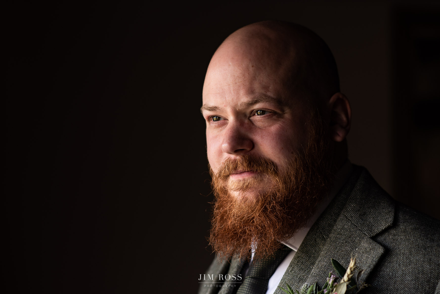 Groom window portrait