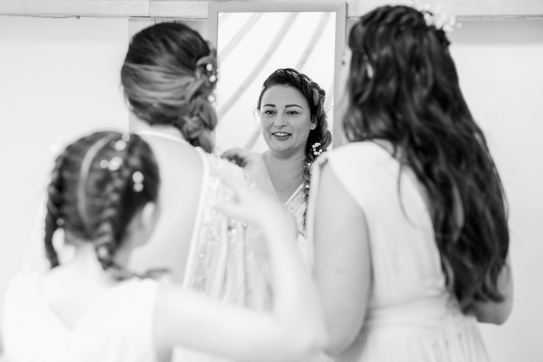 Bride and daughters getting ready
