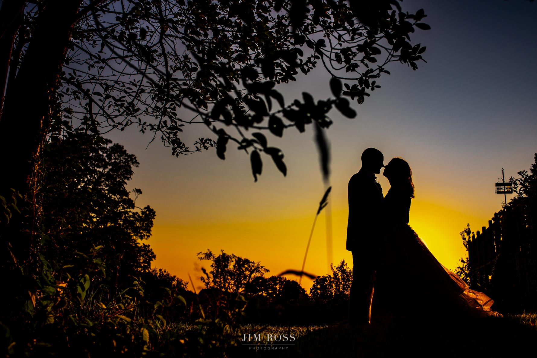 Welsh Yurt Wedding sunset silhouette
