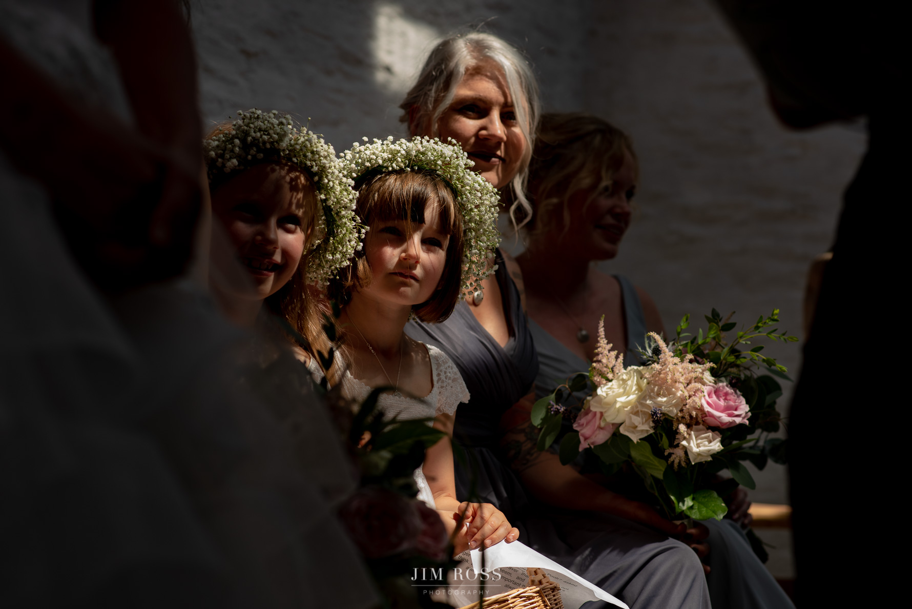 Flower girls in medieval church