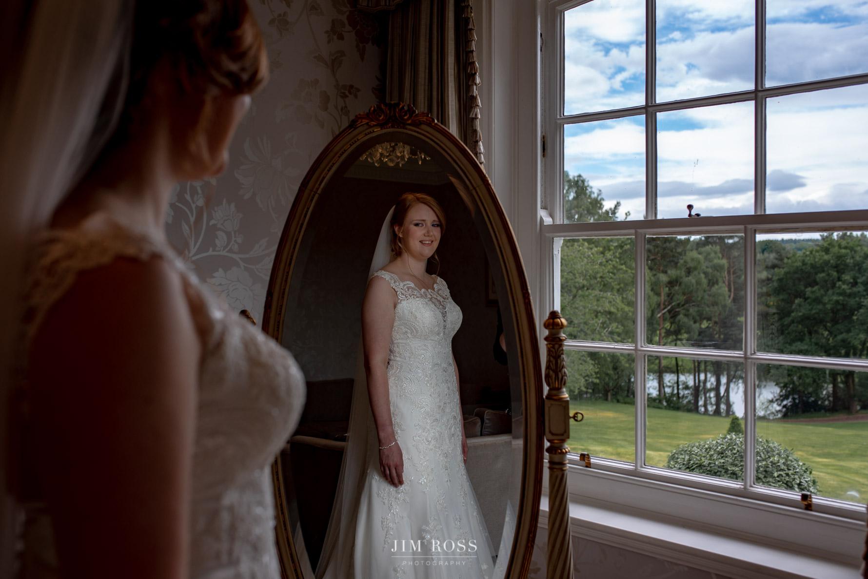 Bridal portrait in mirror