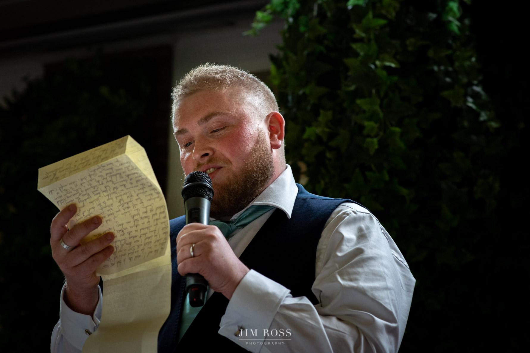 Groom speech at Delamere Manor