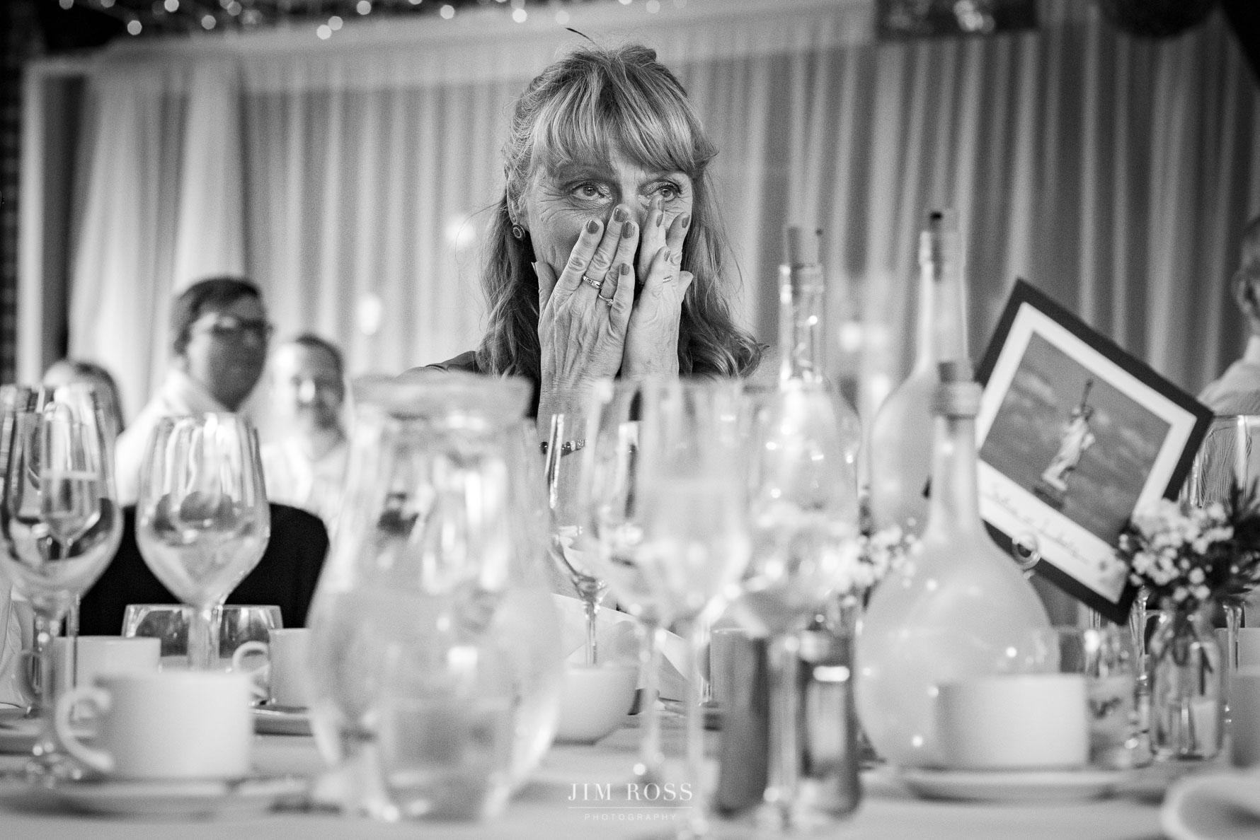 Embarrassed auntie in speeches