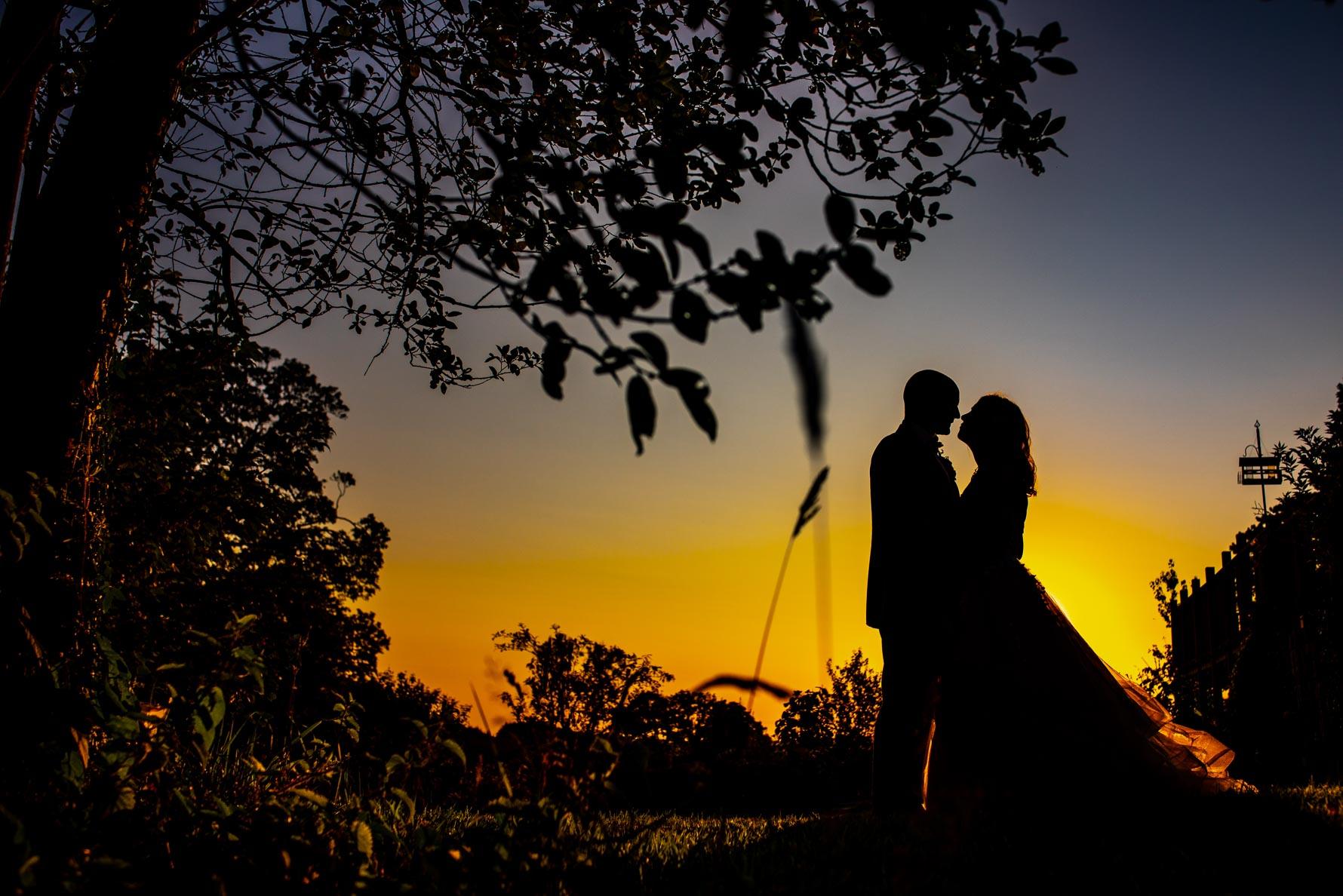 Silhouette couple at Fron Farm