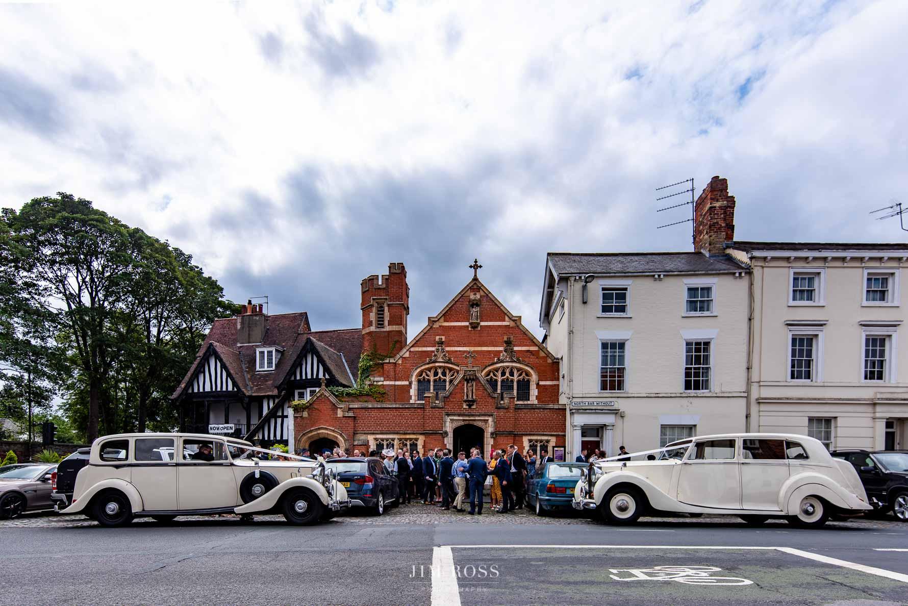 Rolls Royce cars outside St Johns Church Beverley