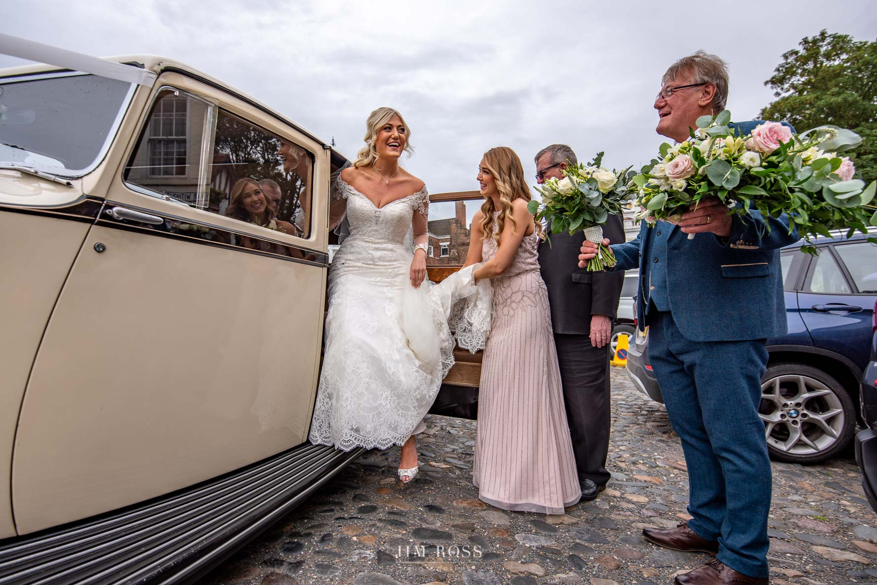 Bride arrives at Beverley Church wedding