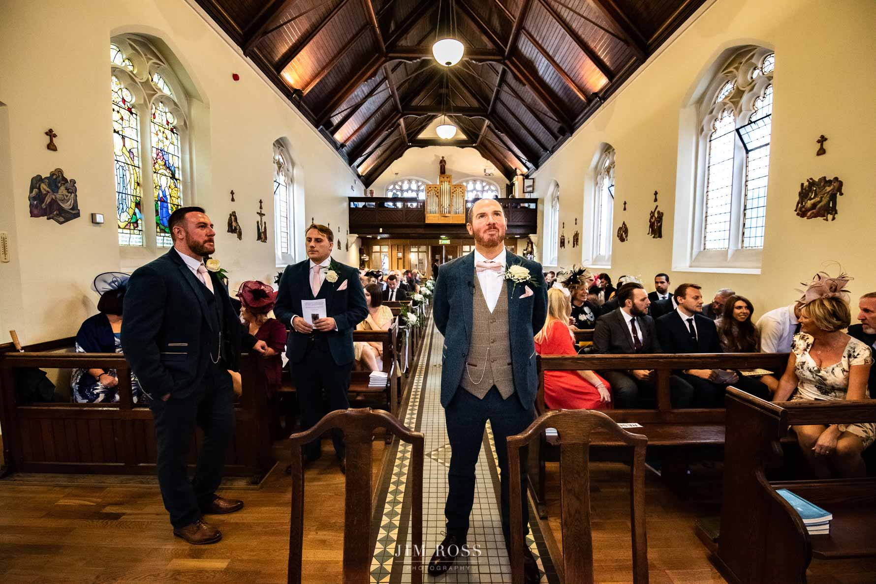 Groom waits for his bride in Beverley church