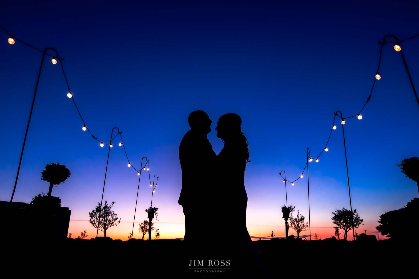 Beverley Barn sunset wedding silhouette portrait