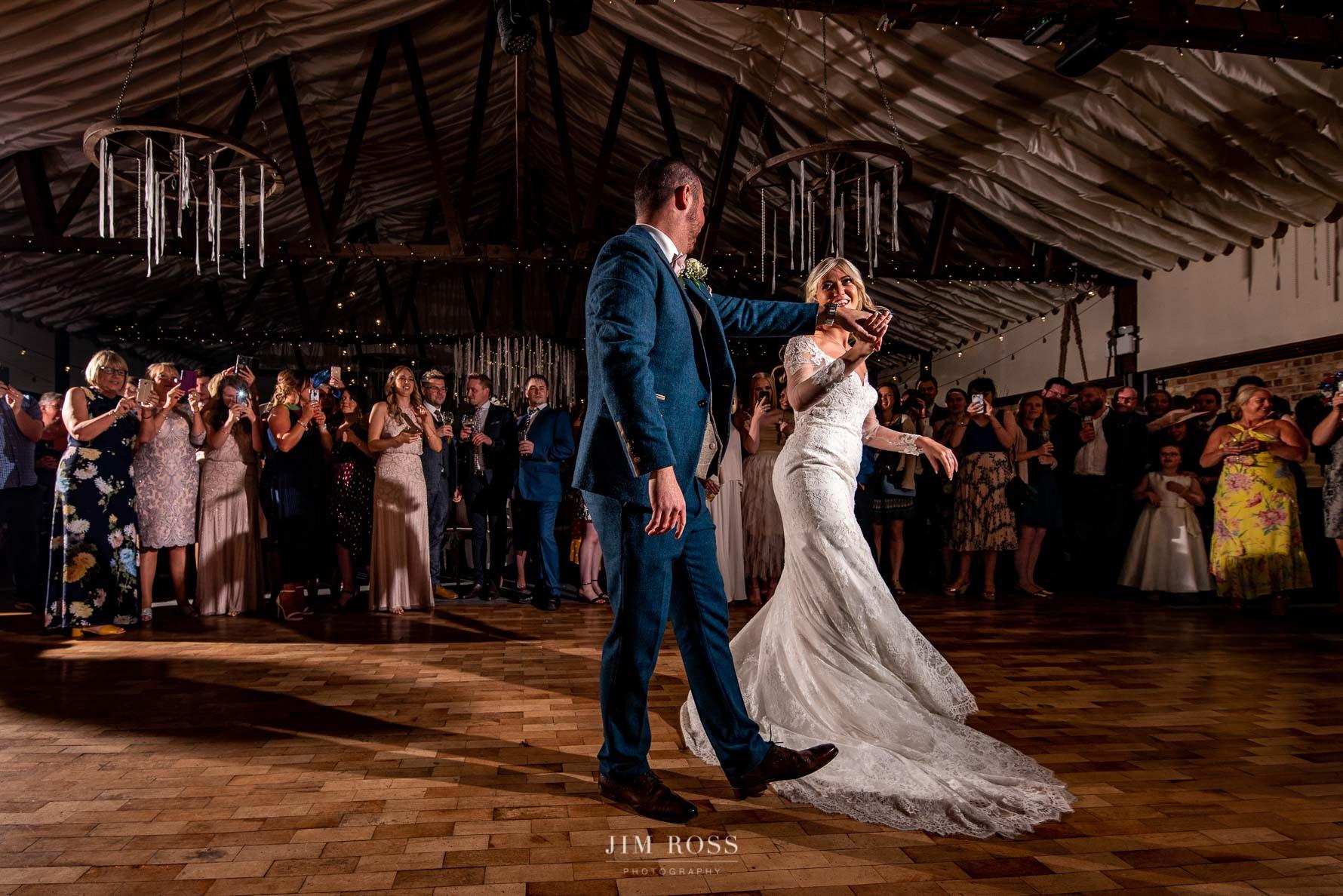 First dance at wedding barn