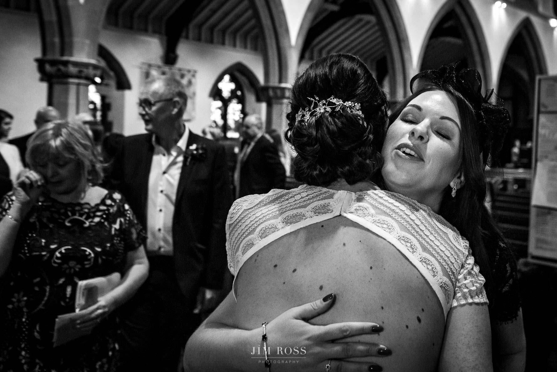 Hug for new bride