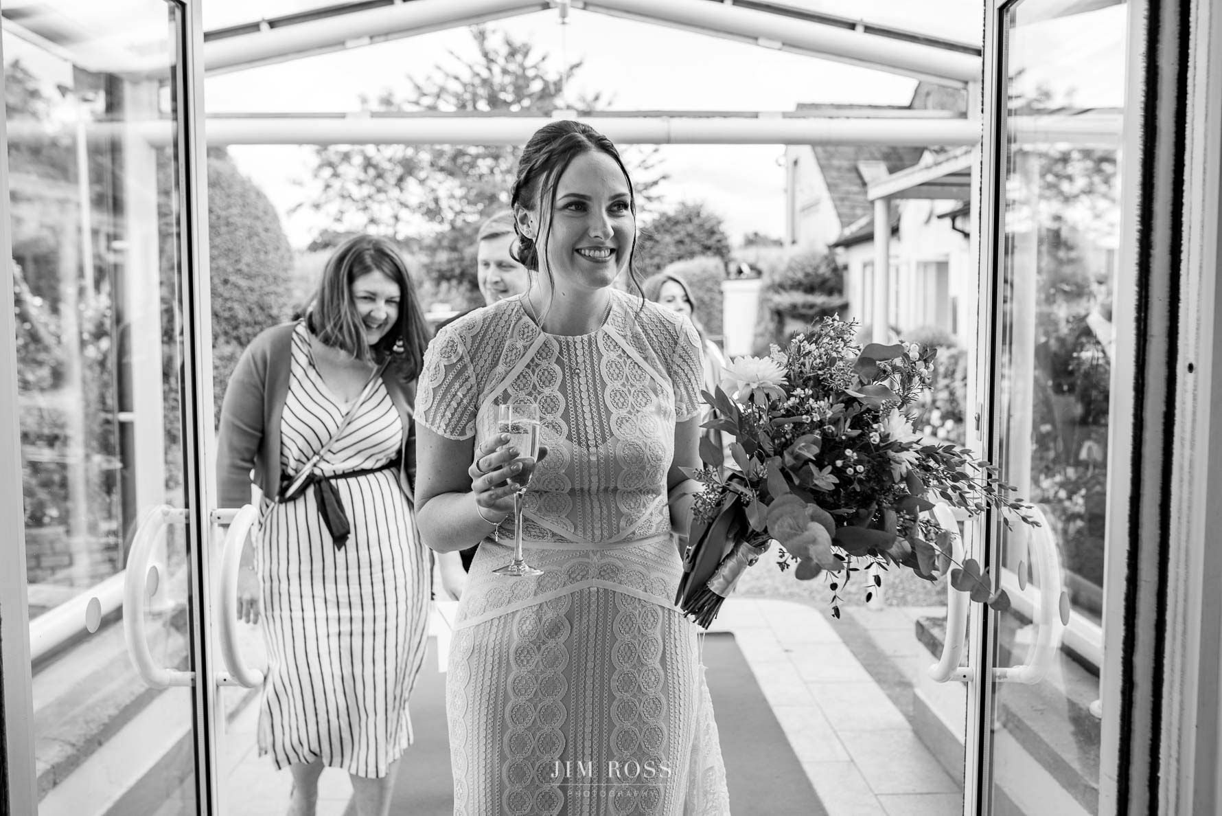 Bride arrives at reception