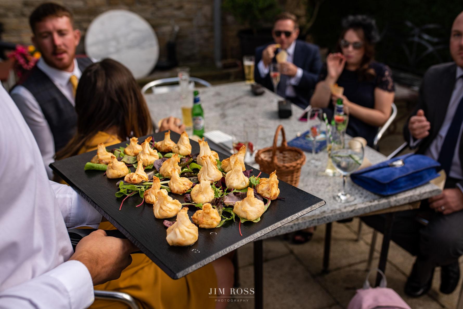 Canapés at Lancashire wedding